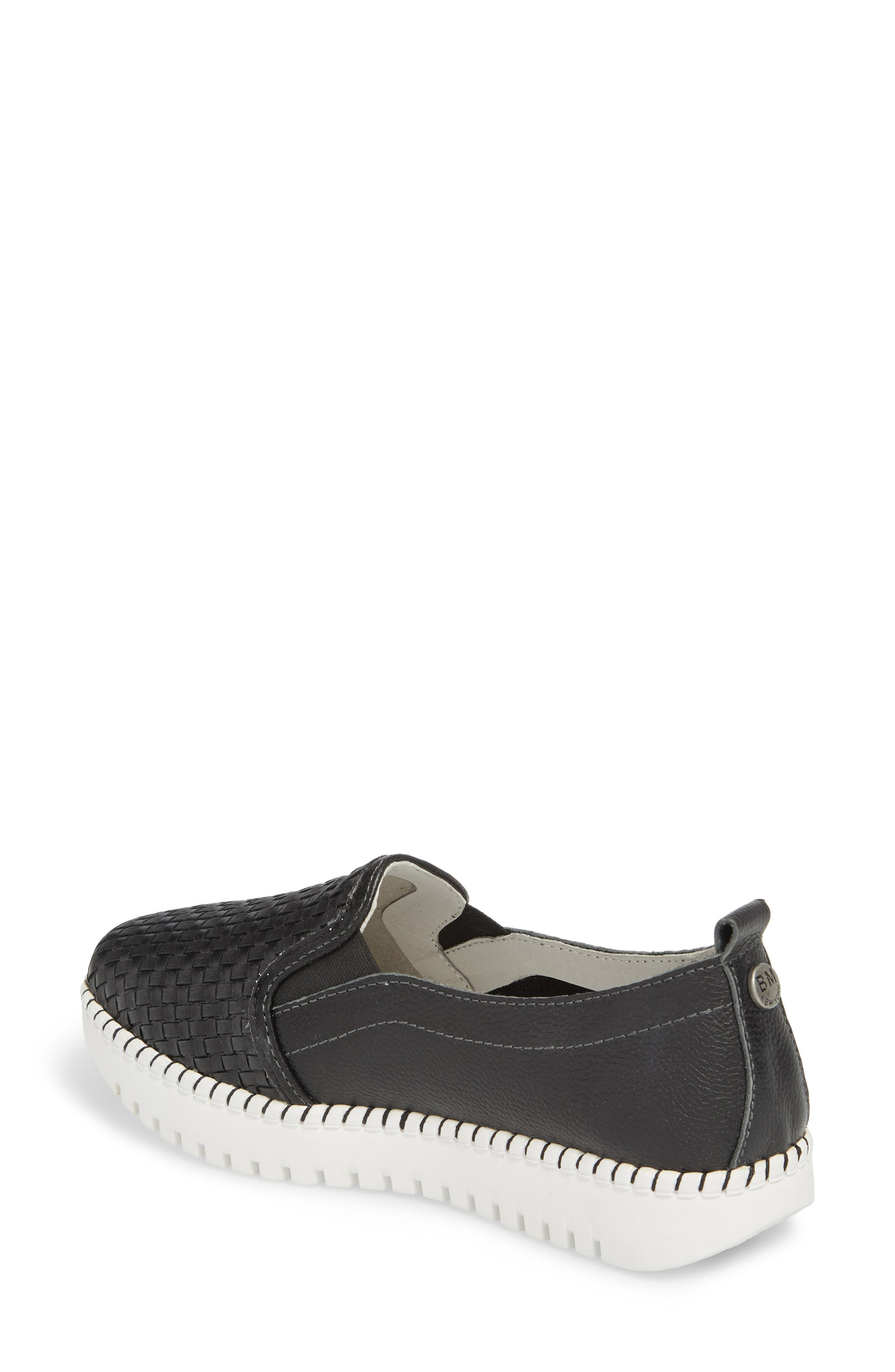 Stretch Woven Platform Sneaker,                             Alternate thumbnail 2, color,                             BLACK LEATHER