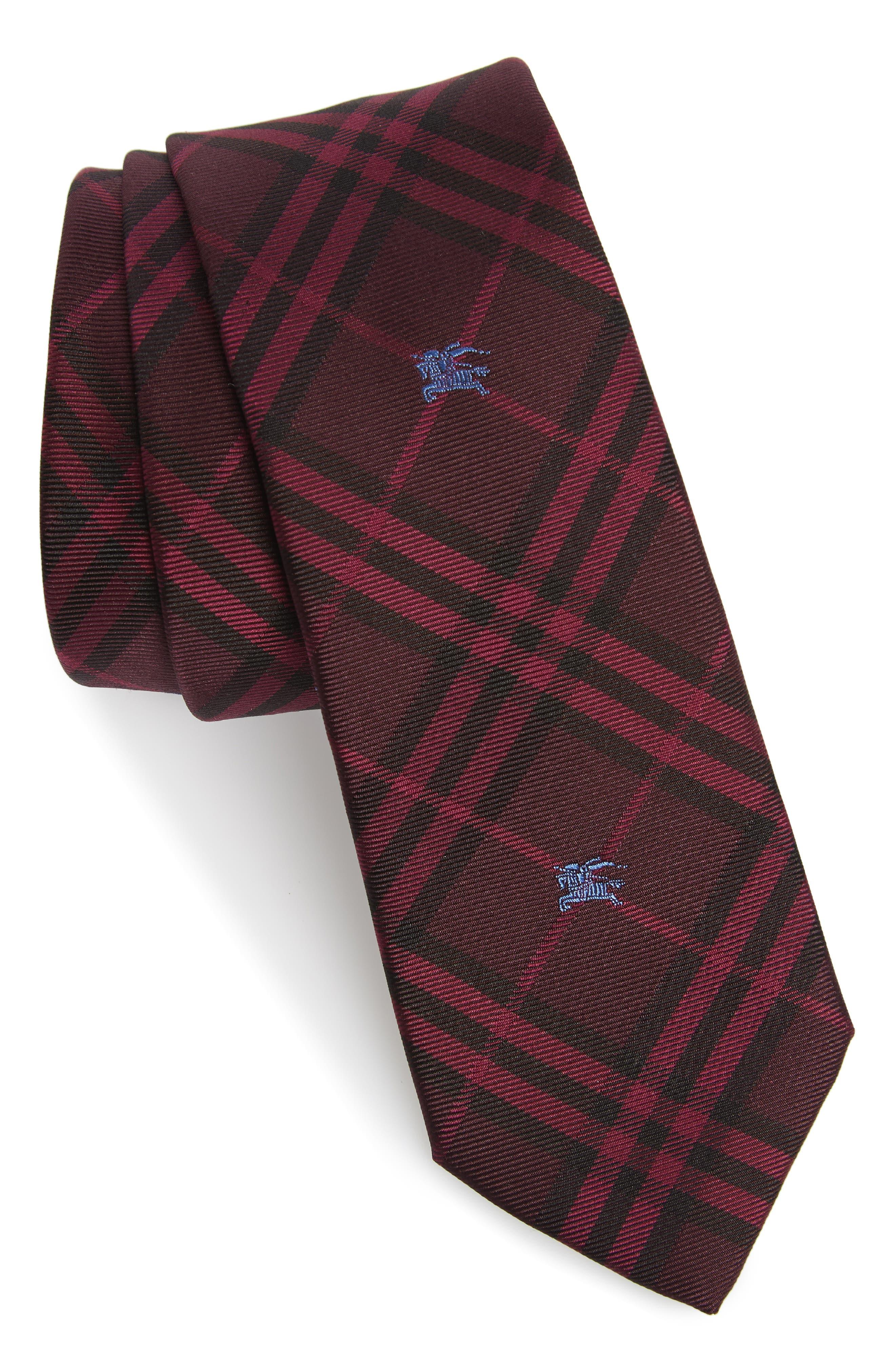 BURBERRY,                             Stanfield Silk Tie,                             Main thumbnail 1, color,                             DARK ELDERBERRY