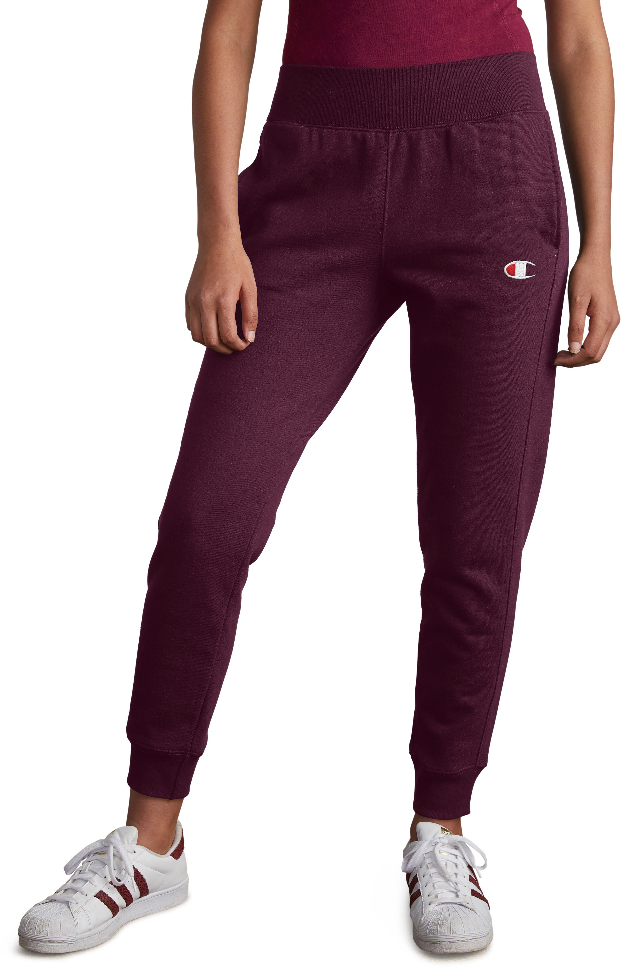 CHAMPION,                             Reverse Weave Jogger Pants,                             Main thumbnail 1, color,                             DARK BERRY PURPLE
