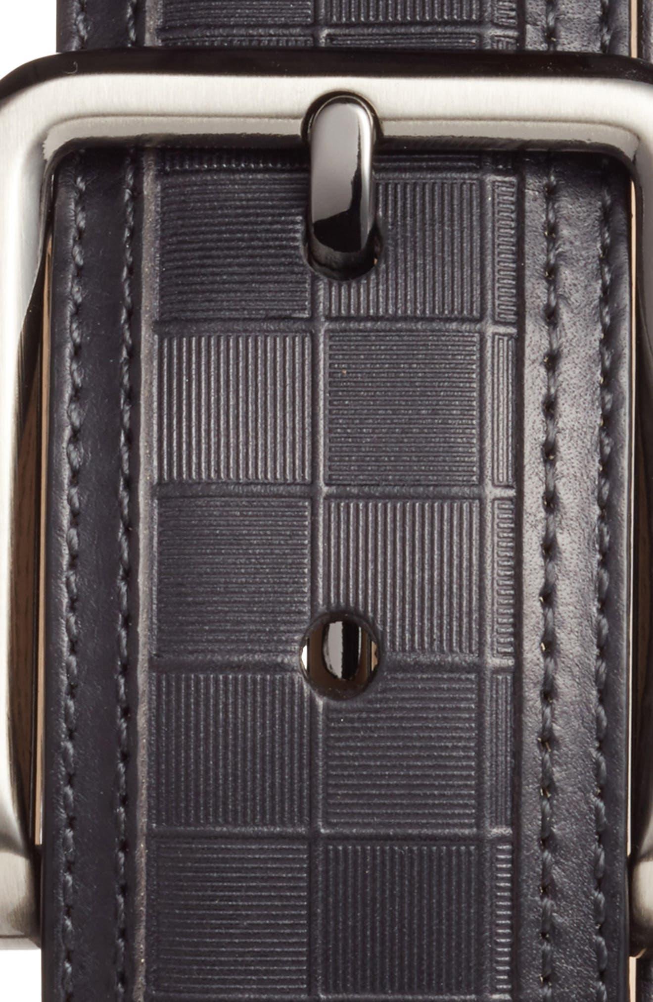 Check Leather Belt,                             Alternate thumbnail 2, color,                             BLACK