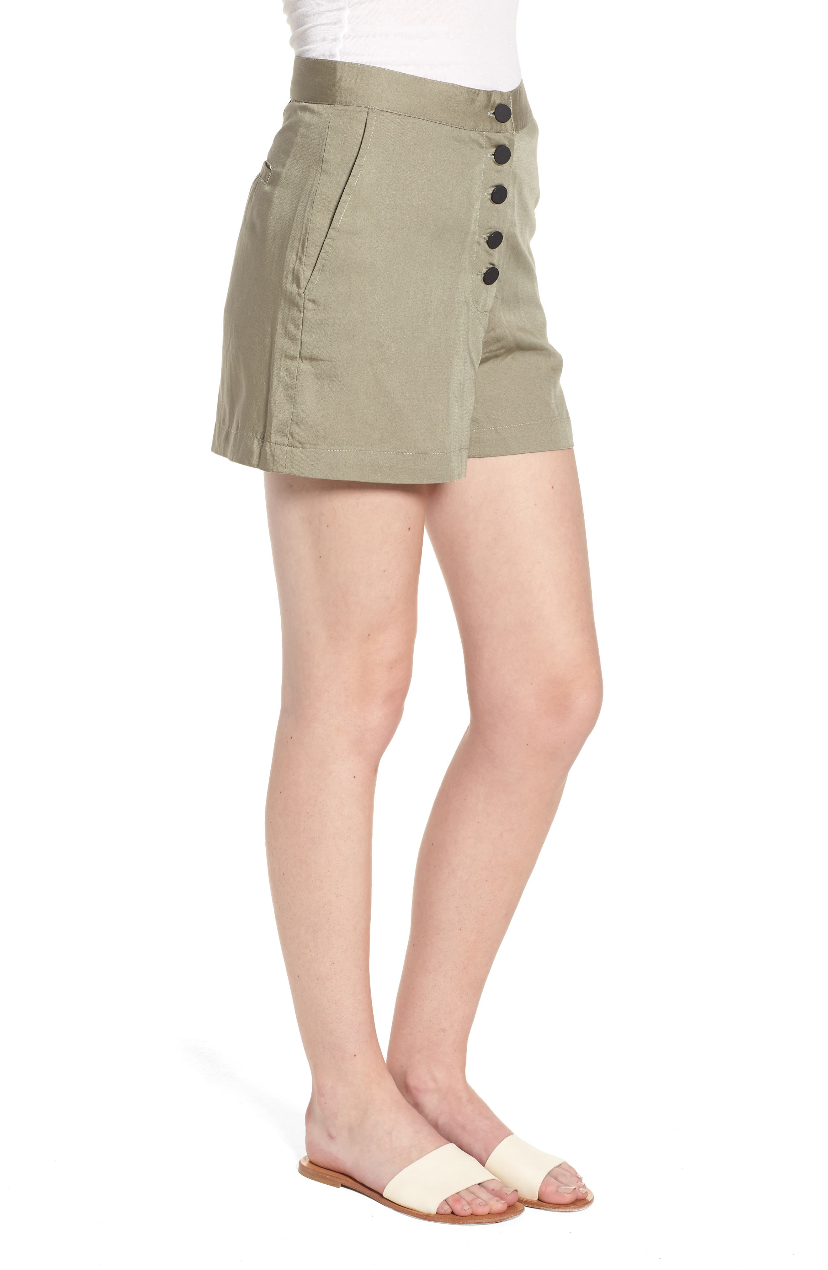 High Waist Shorts,                             Alternate thumbnail 3, color,                             SEA GRASS