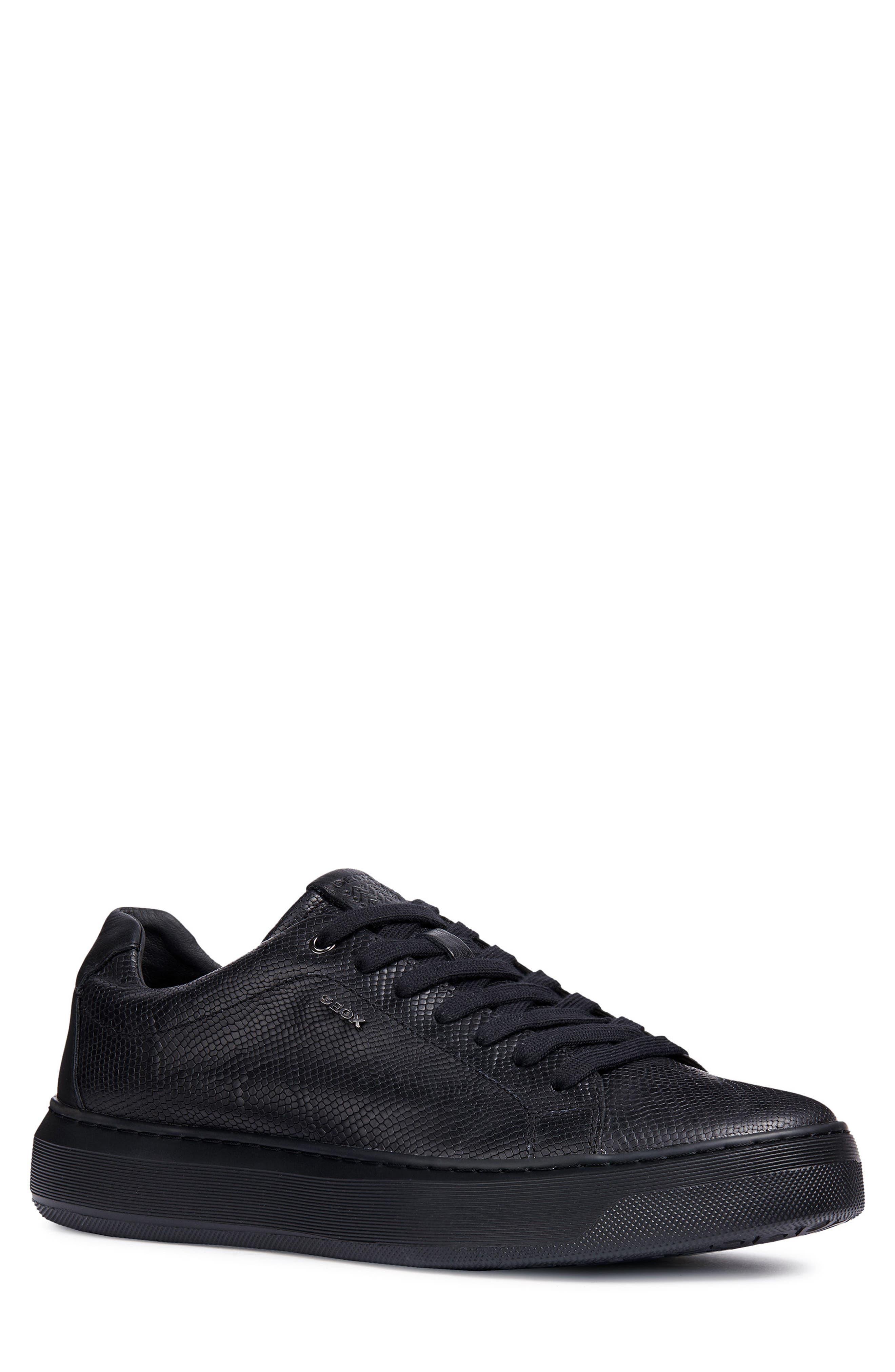Geox Deiven 7 Snake Embossed Low Top Sneaker, Black