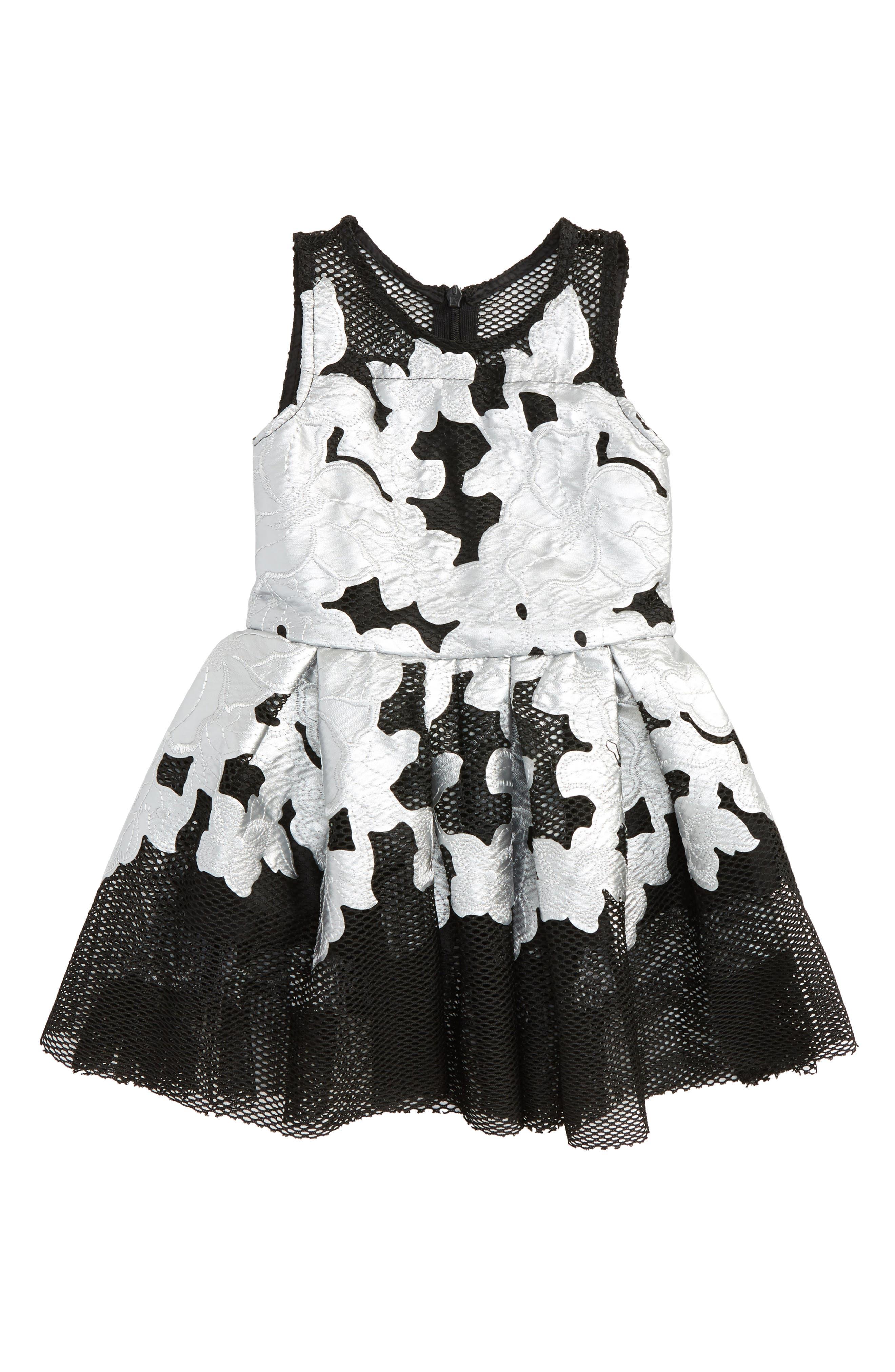 Flower Appliqué Dress,                             Main thumbnail 1, color,                             040
