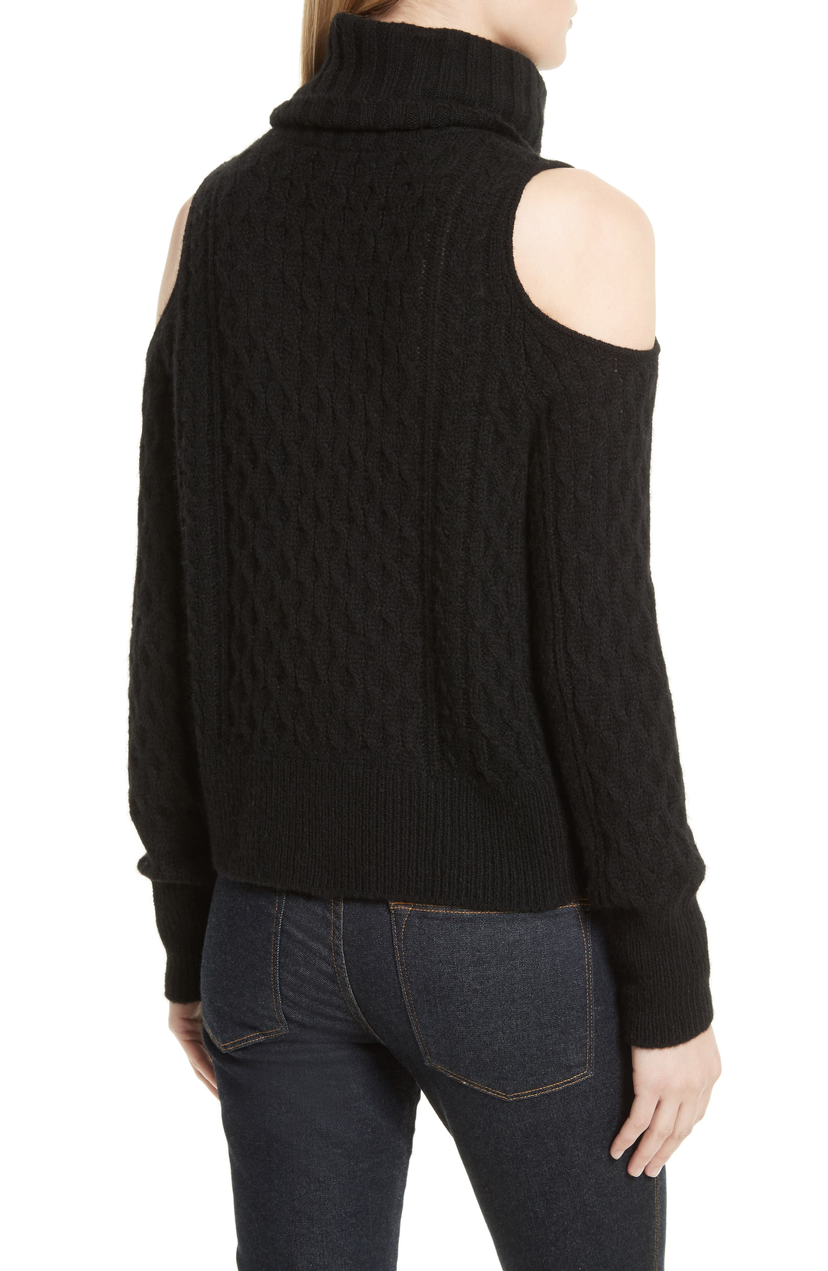 Cold Shoulder Cable Knit Sweater,                             Alternate thumbnail 2, color,                             001