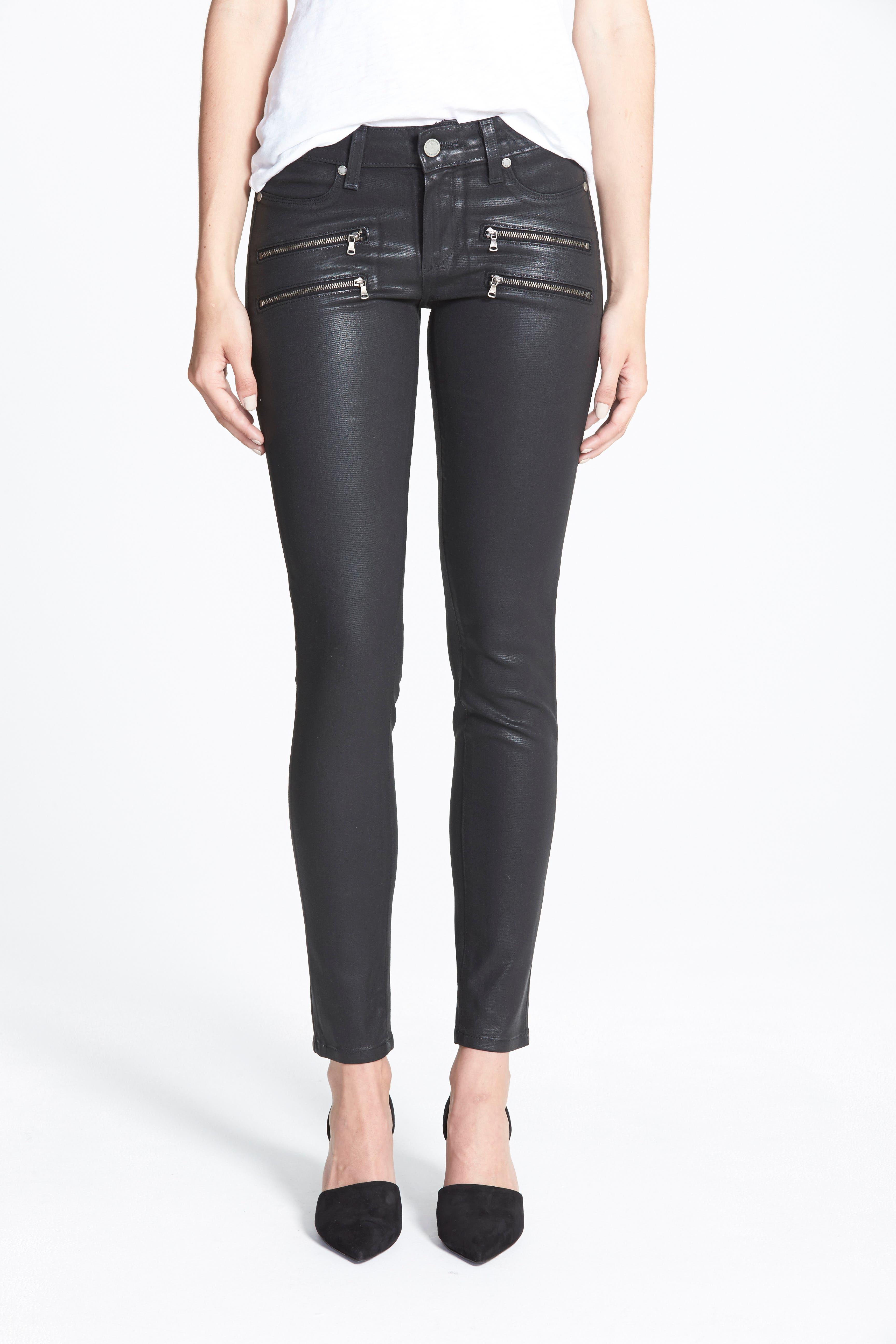 'Edgemont' Coated Ultra Skinny Jeans,                             Alternate thumbnail 4, color,                             001