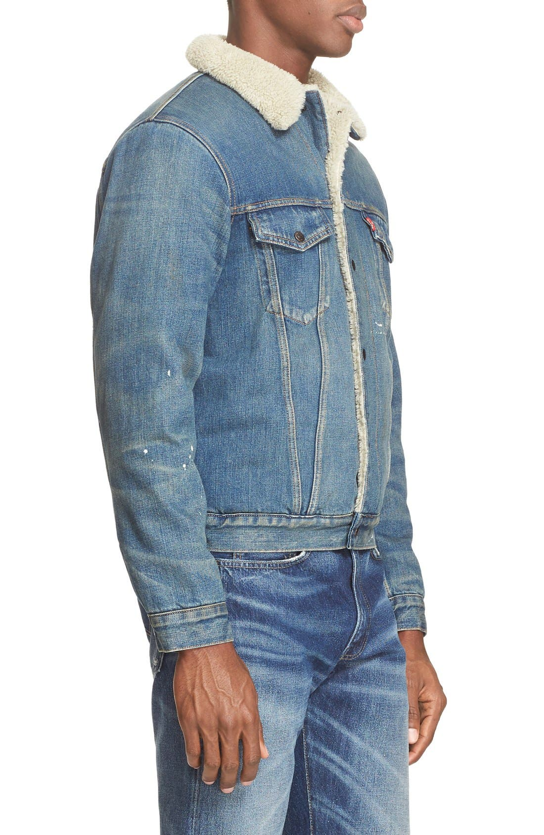 '1967 Type III' Denim Jacket with Faux Fur Collar,                             Alternate thumbnail 3, color,                             400