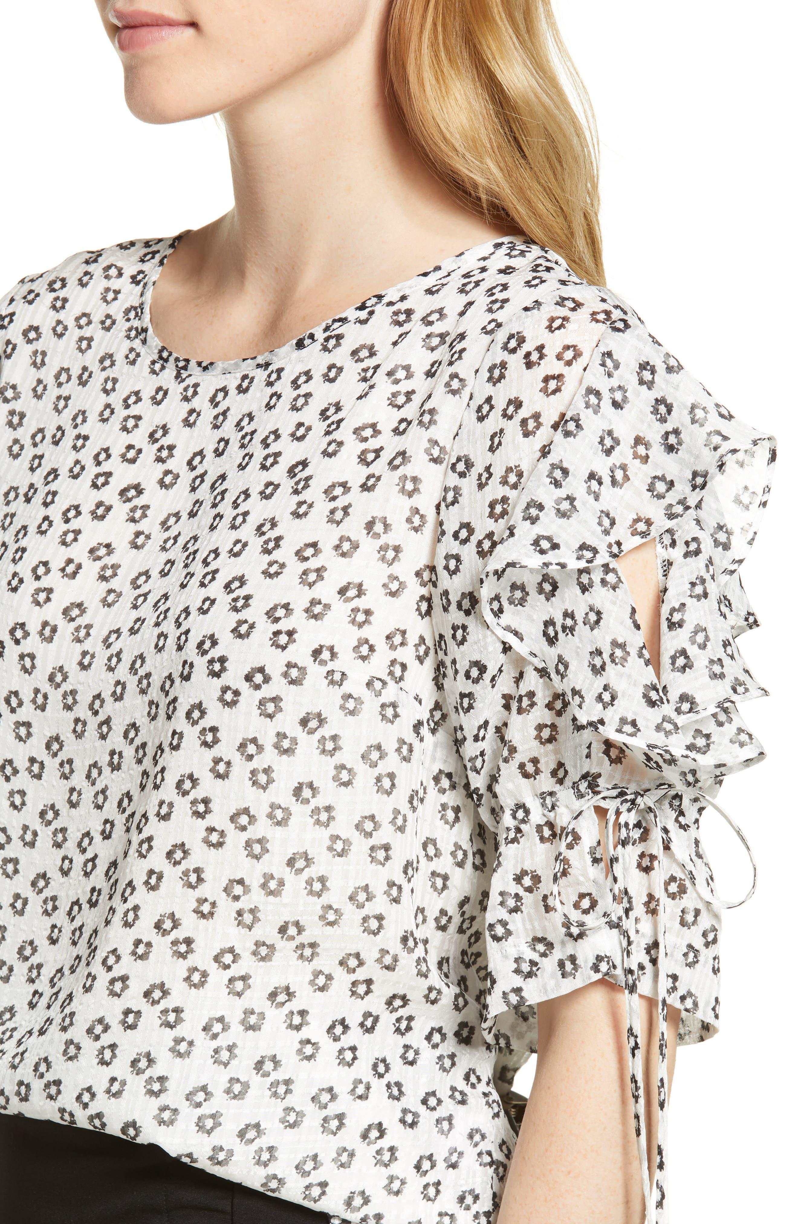 Flower Etching Ruffle Sleeve Top,                             Alternate thumbnail 4, color,                             SOFT ECRU
