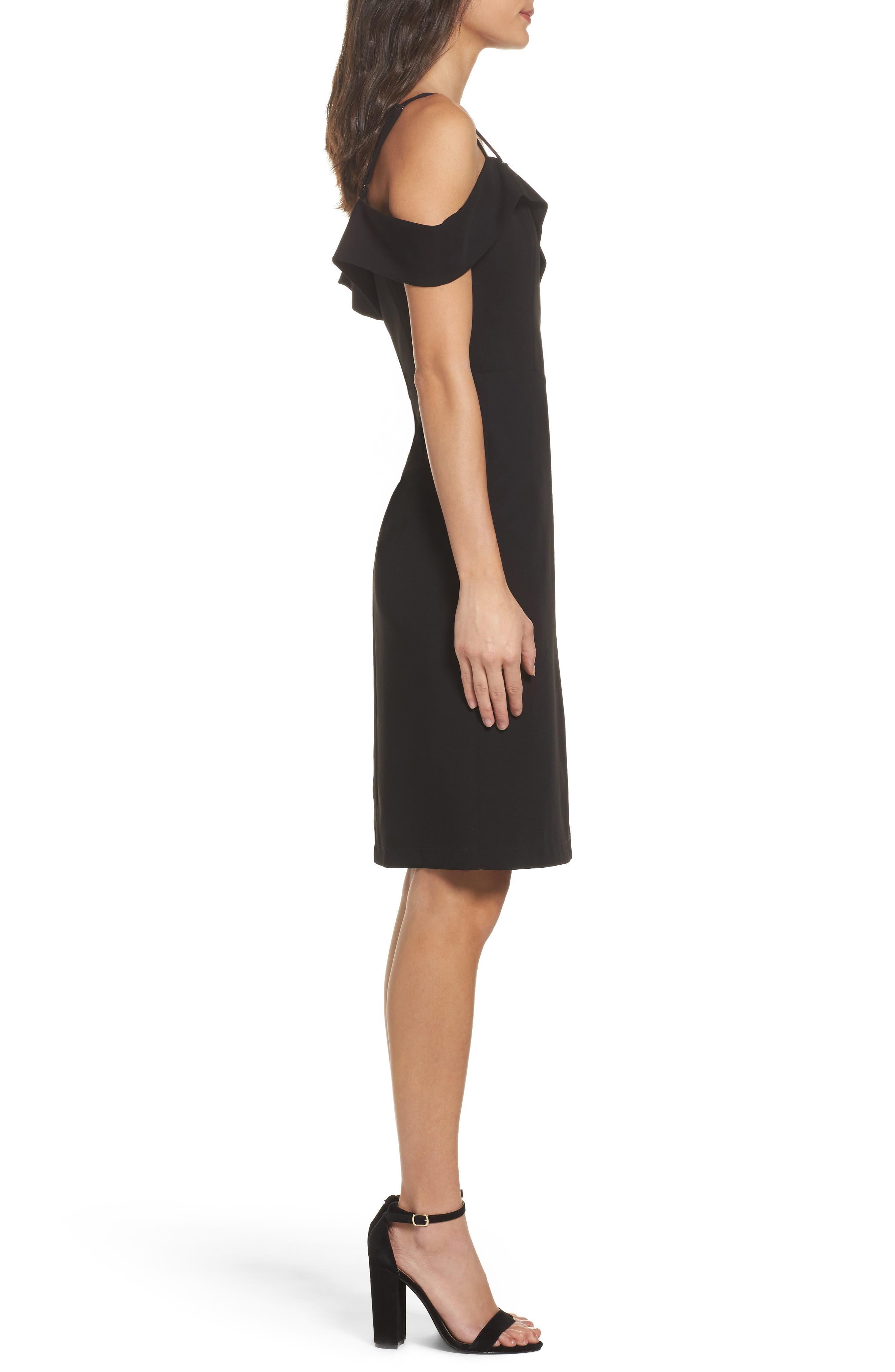 Shelby Cold Shoulder Sheath Dress,                             Alternate thumbnail 3, color,                             001