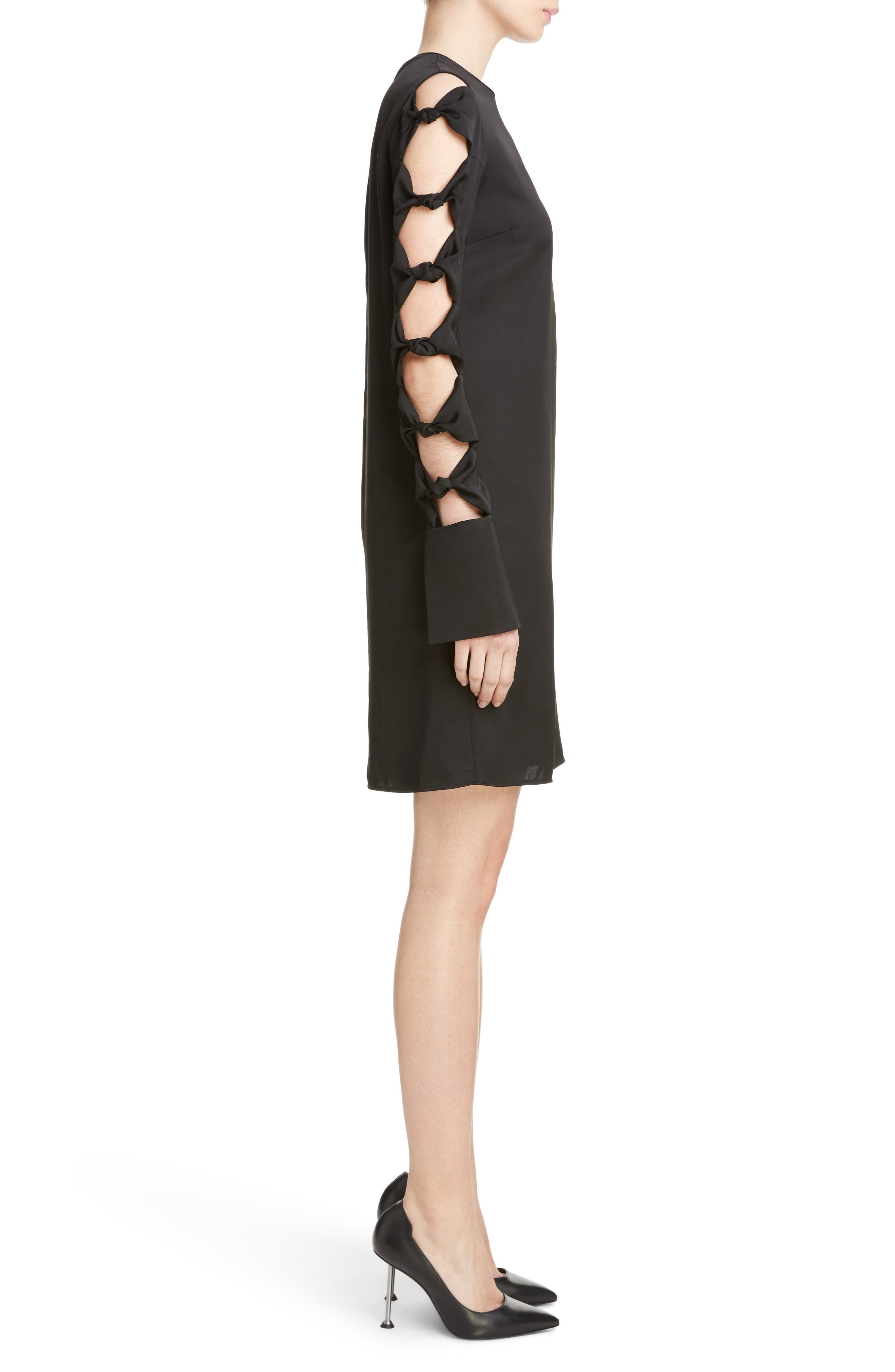 Knotted Sleeve Dress,                             Alternate thumbnail 3, color,                             001