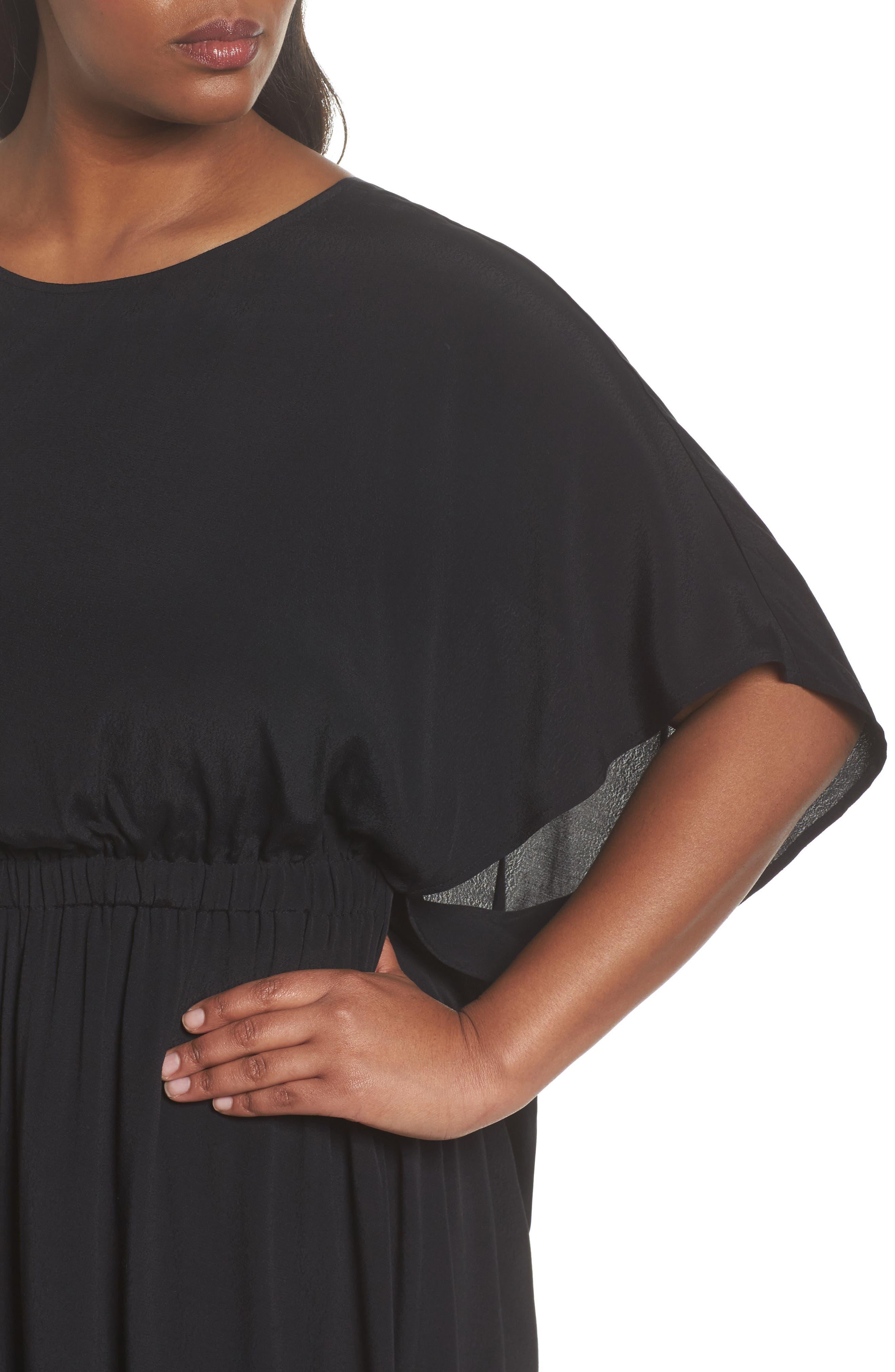 High/Low Caftan Dress,                             Alternate thumbnail 4, color,                             001