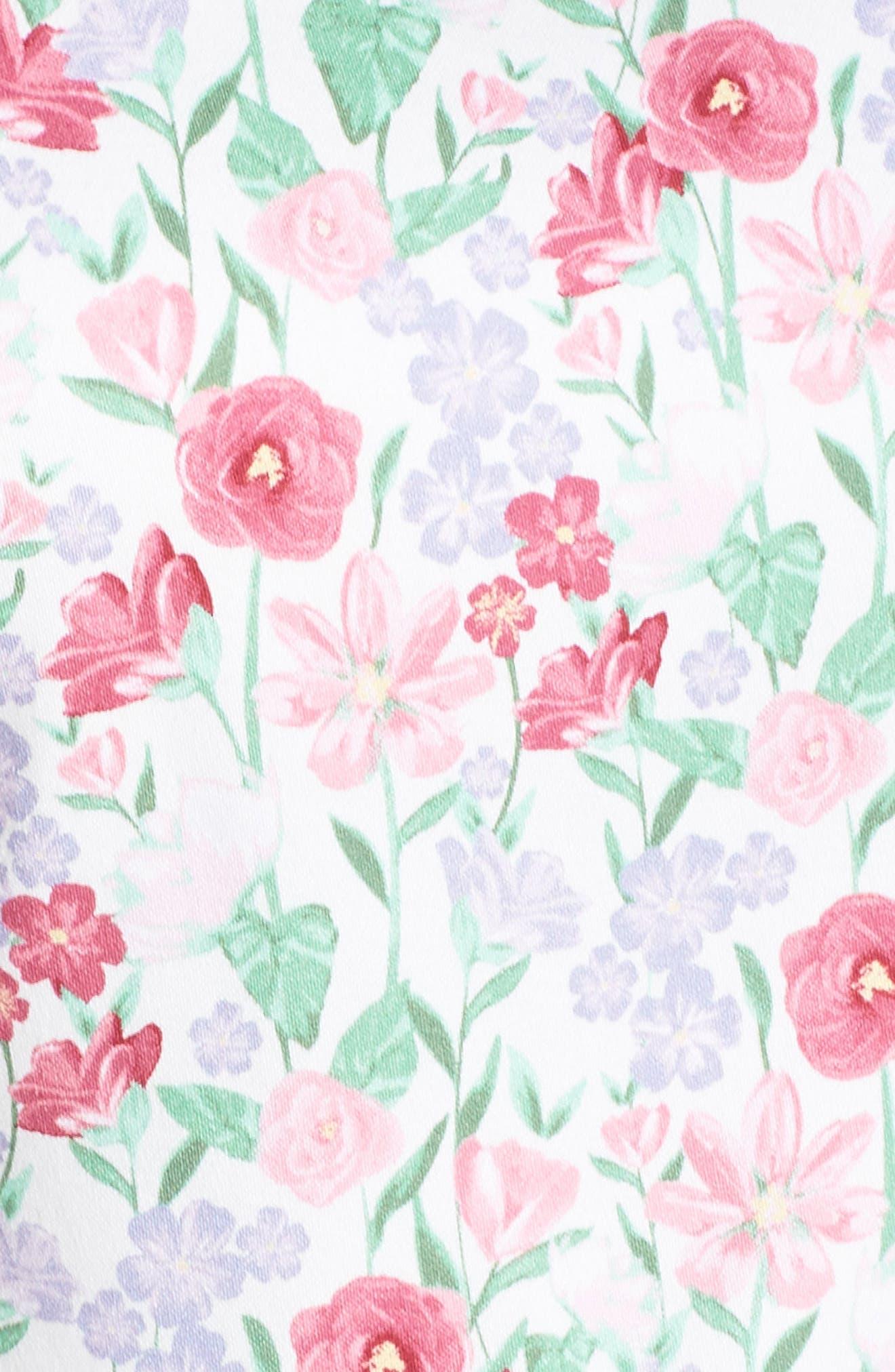 Packed Bouquet Print Stretch Cotton Dress,                             Alternate thumbnail 6, color,                             650