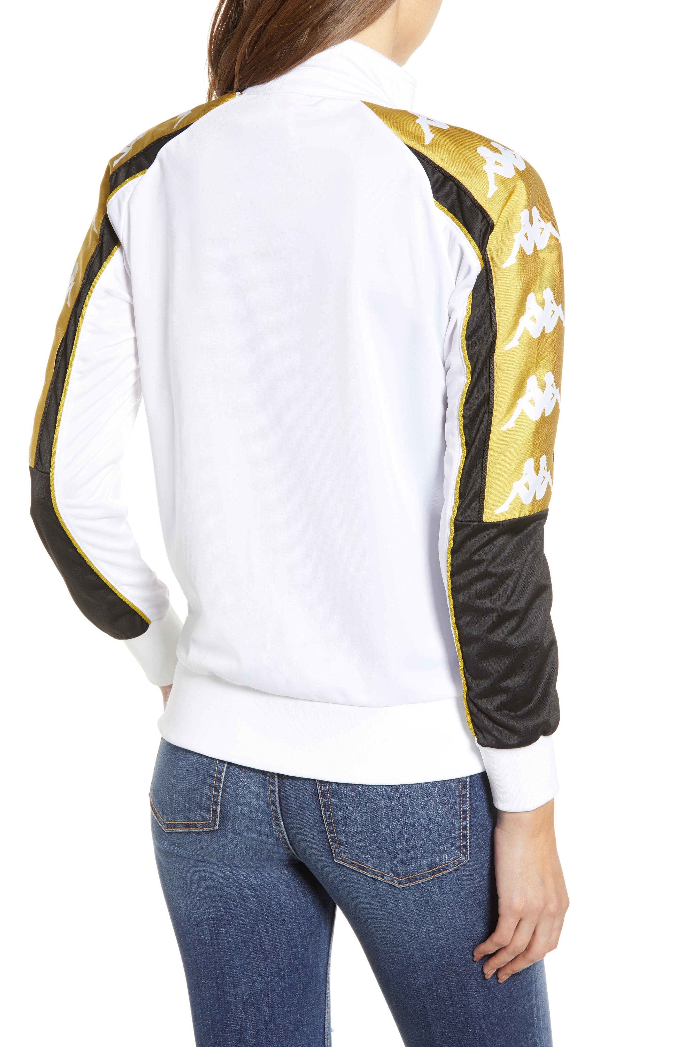 Active Logo Warmup Jacket,                             Alternate thumbnail 2, color,                             WHITE/ YELLOW GOLD