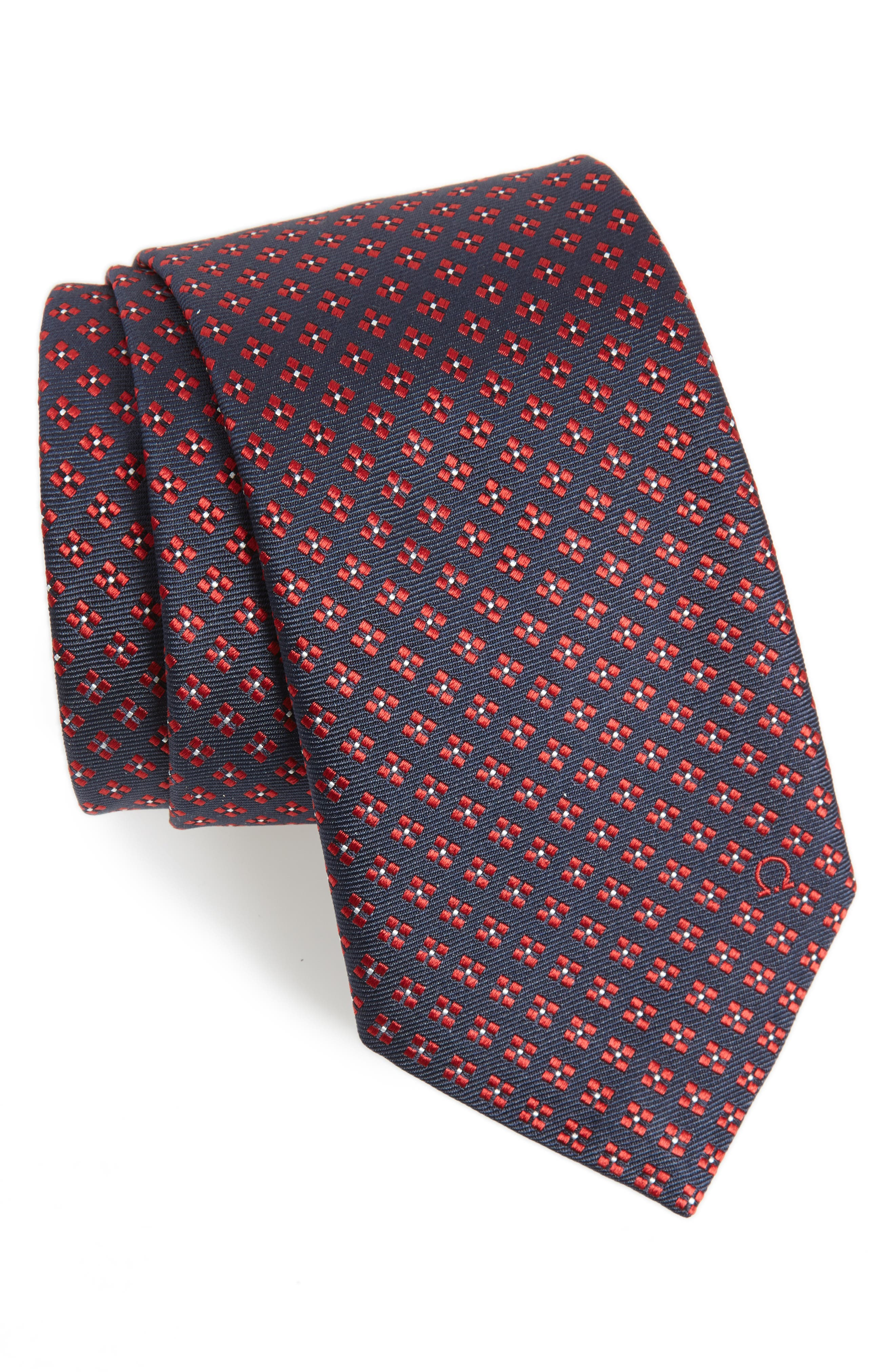 Empol Geometric Silk Tie,                             Main thumbnail 1, color,                             NAVY/ RED