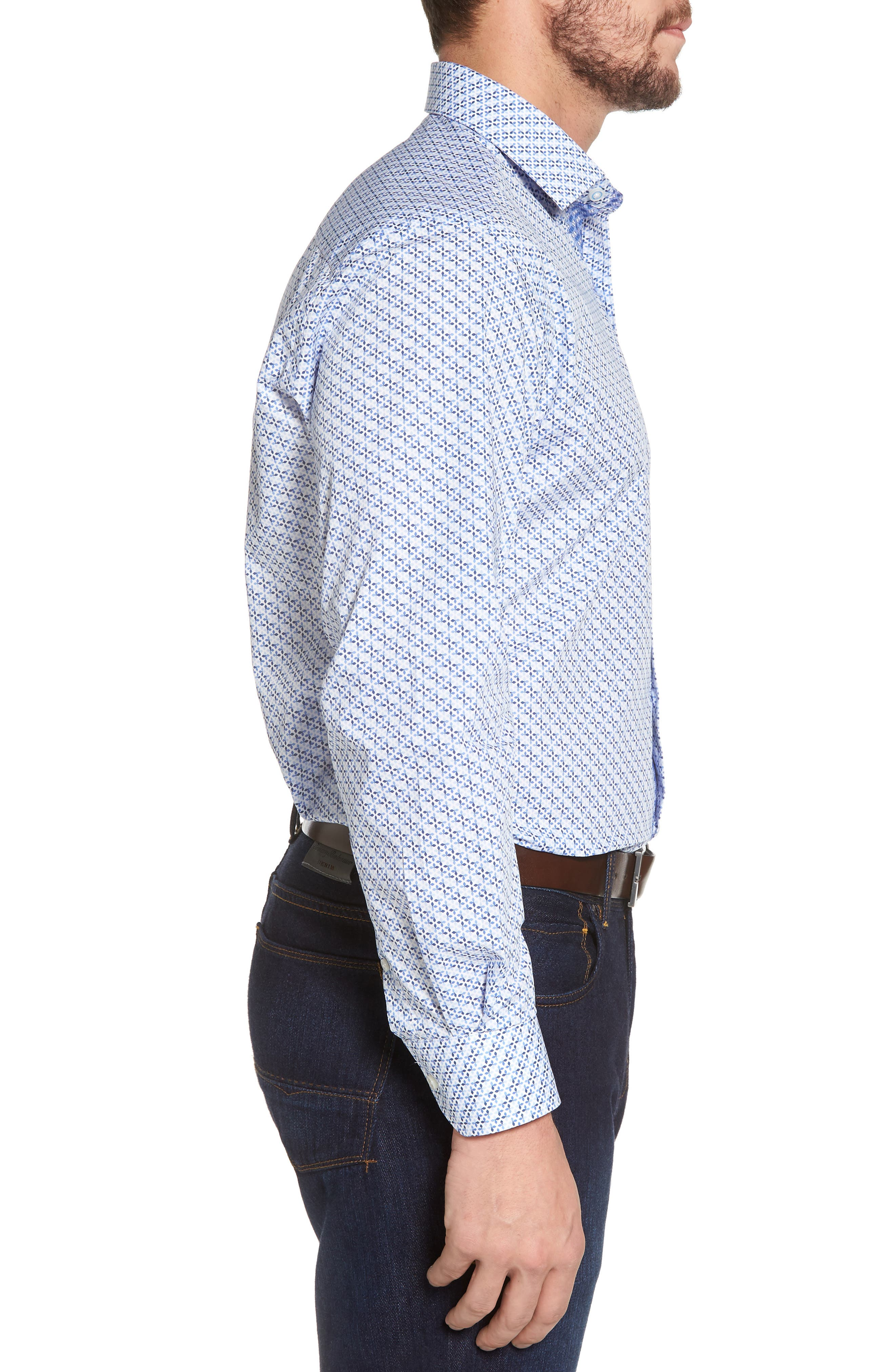 Simon Regular Fit Geo Print Sport Shirt,                             Alternate thumbnail 3, color,                             450