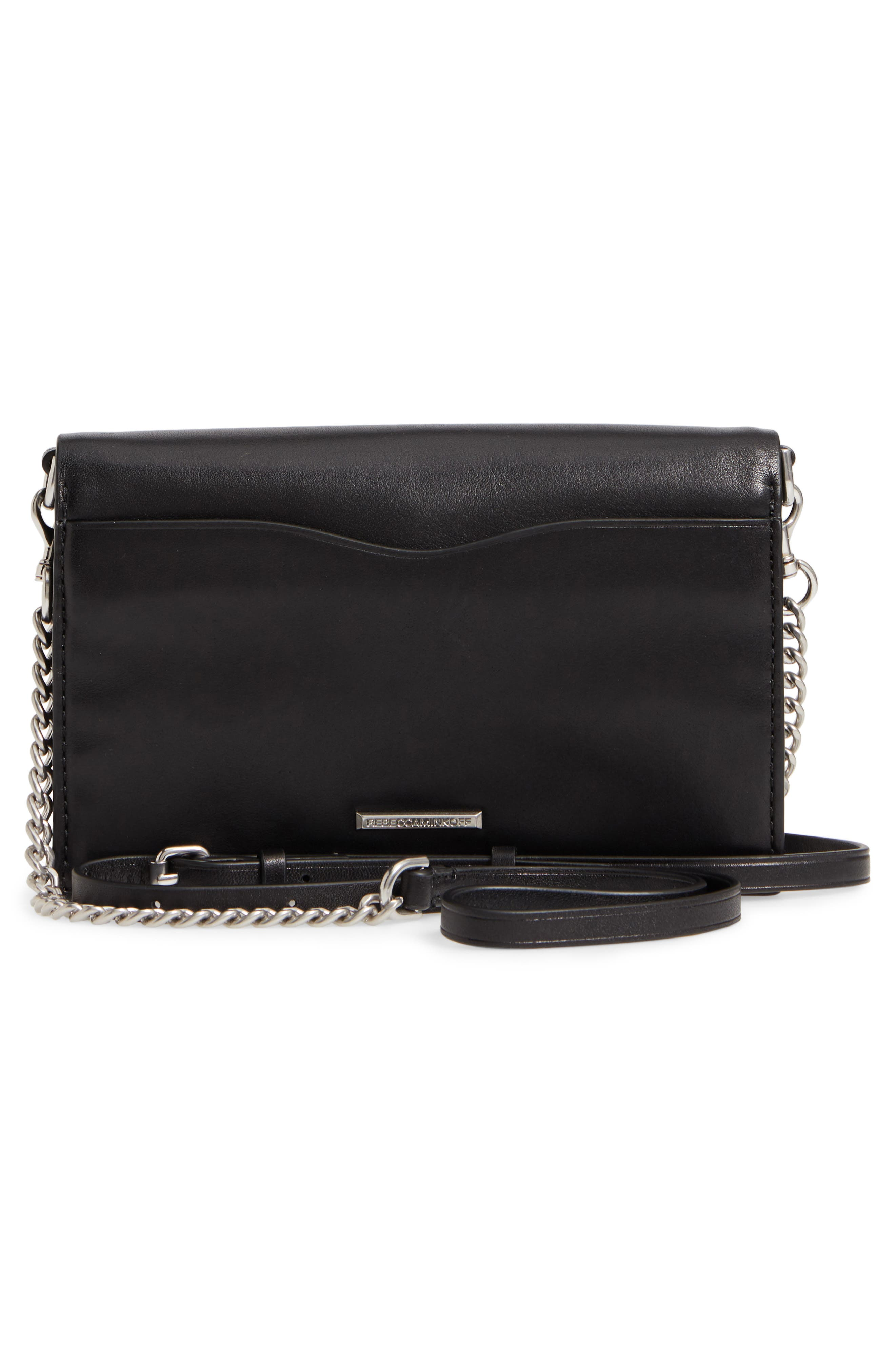 Blythe Studded Leather Crossbody Wallet,                             Alternate thumbnail 3, color,                             001