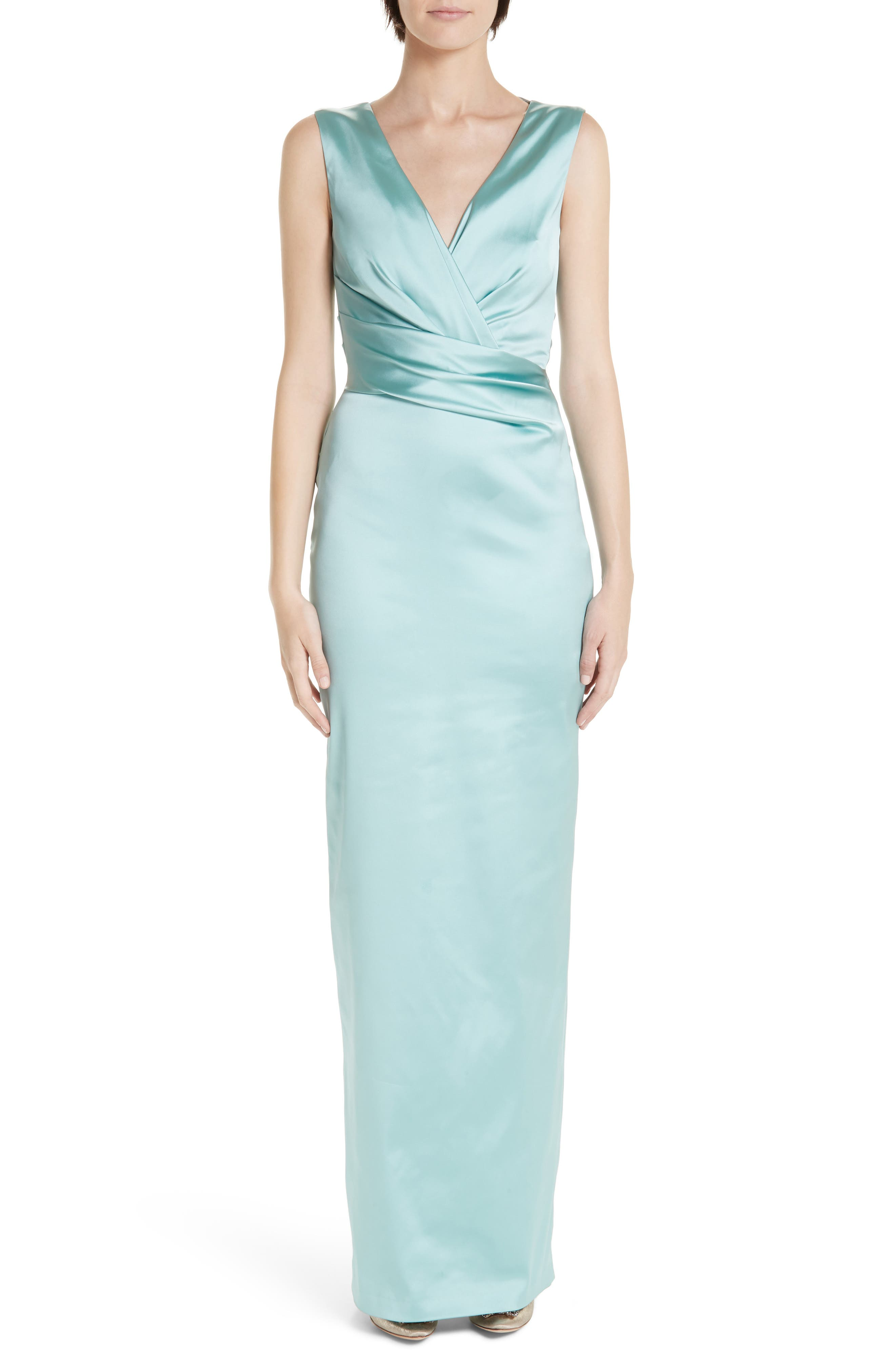 Talbot Runhof Stretch Duchess Satin Gown, Blue