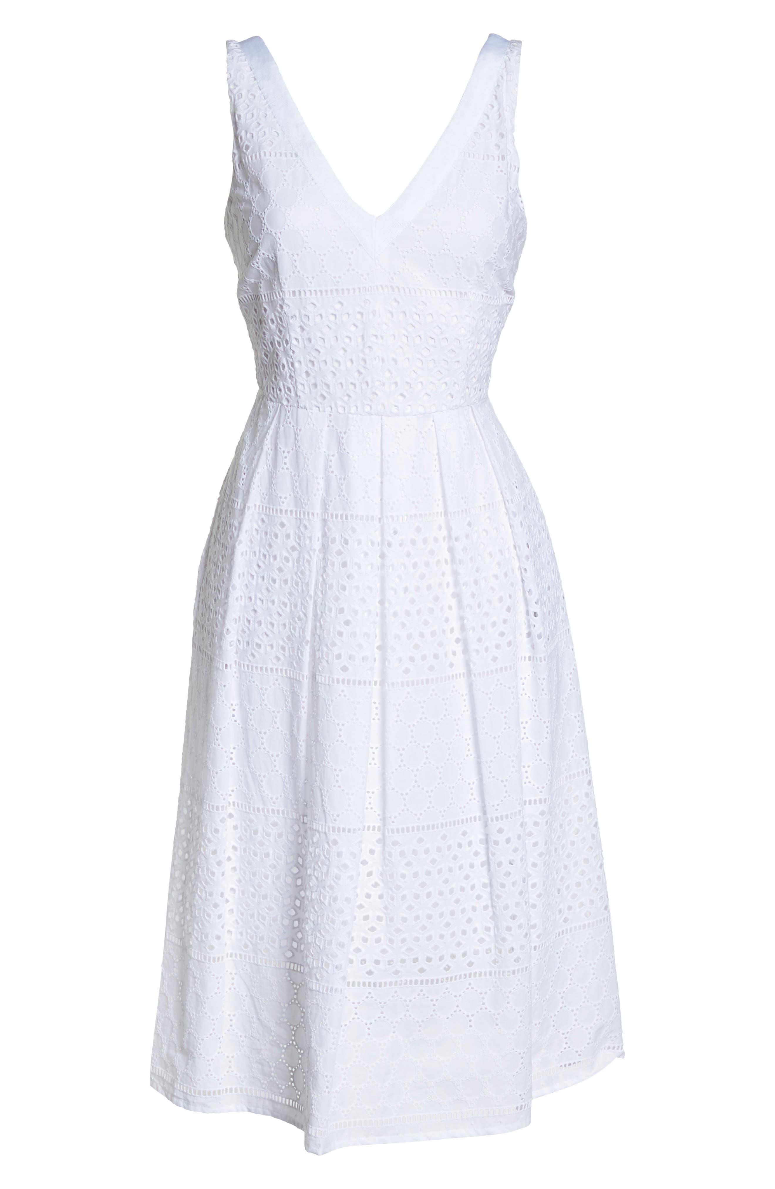 V-Neck Cotton Eyelet Fit & Flare Dress,                             Alternate thumbnail 13, color,