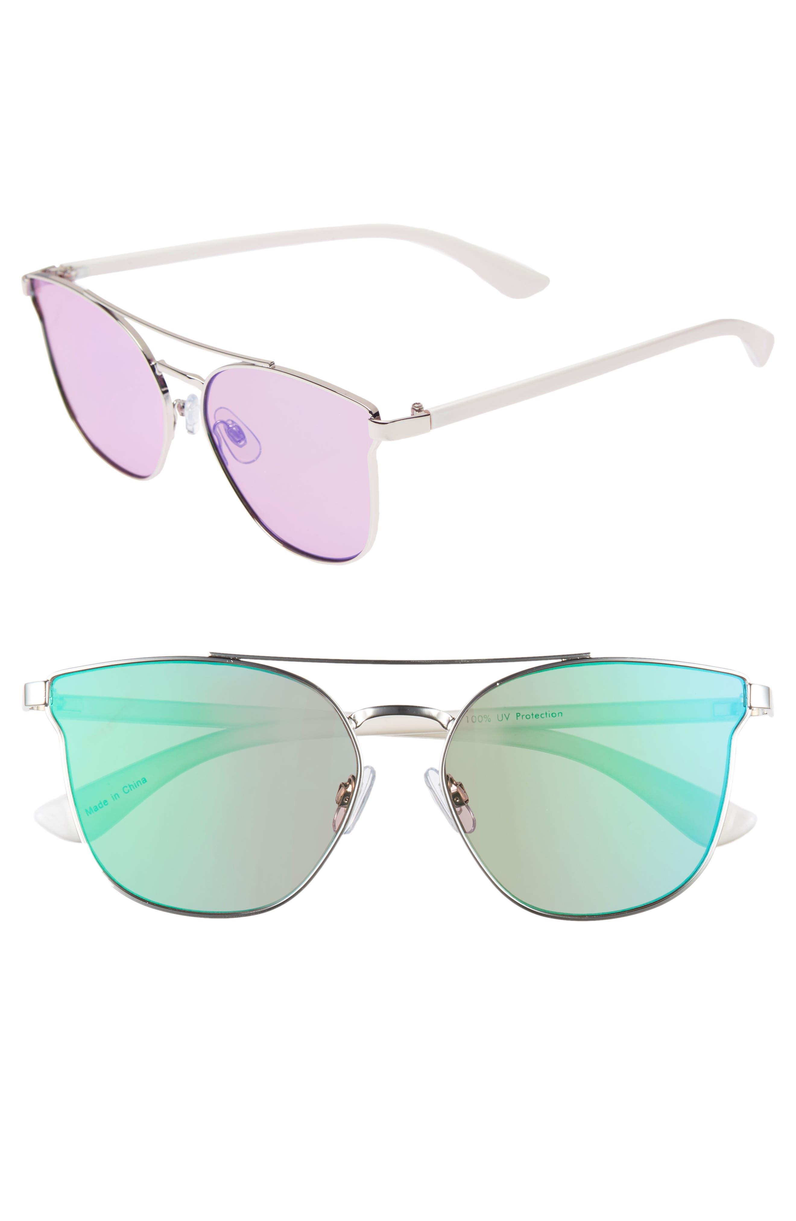 BP. 56mm Flat Mirrored Aviator Sunglasses, Main, color, 100