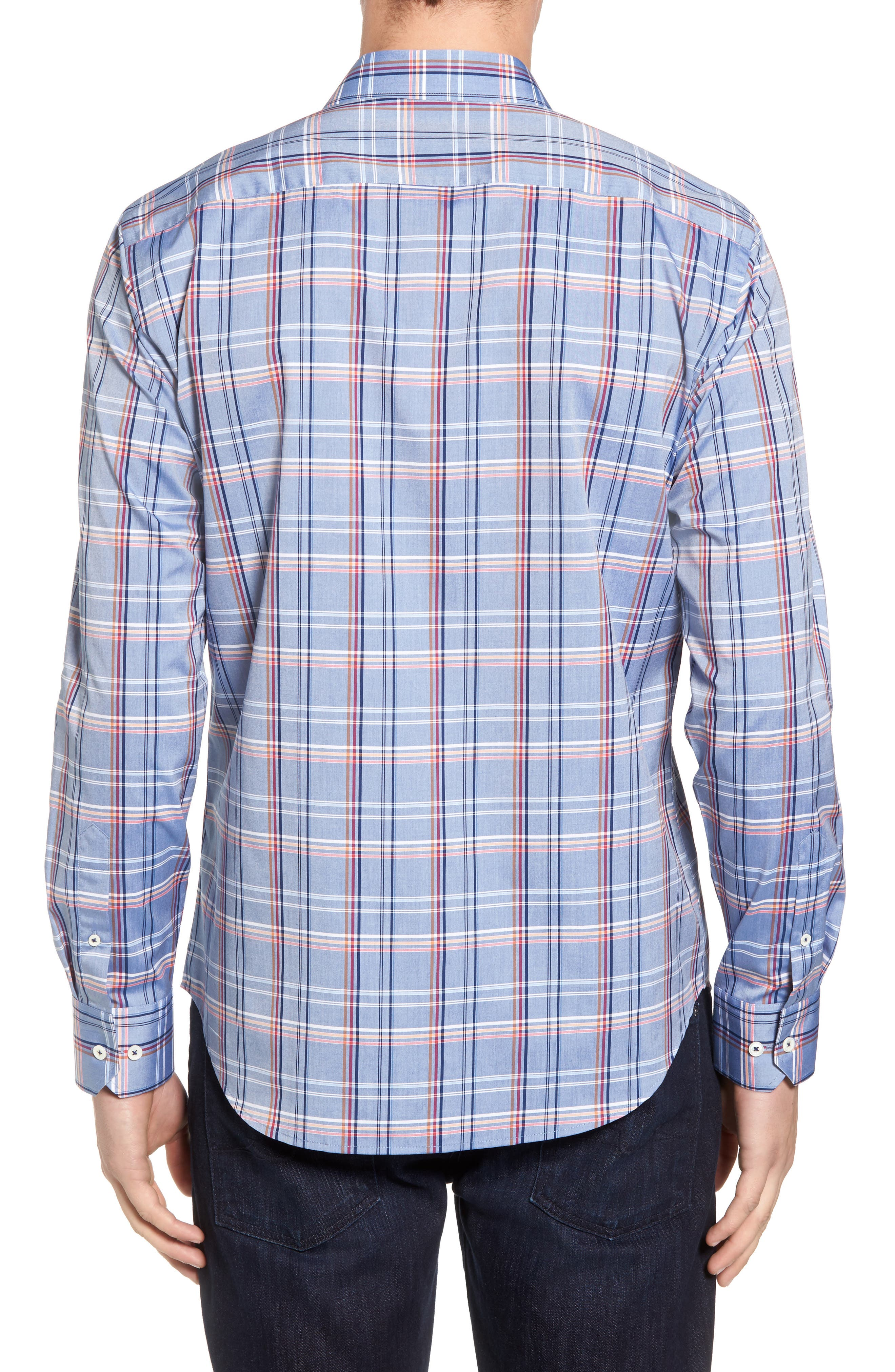 Shaped Fit Plaid Sport Shirt,                             Alternate thumbnail 2, color,