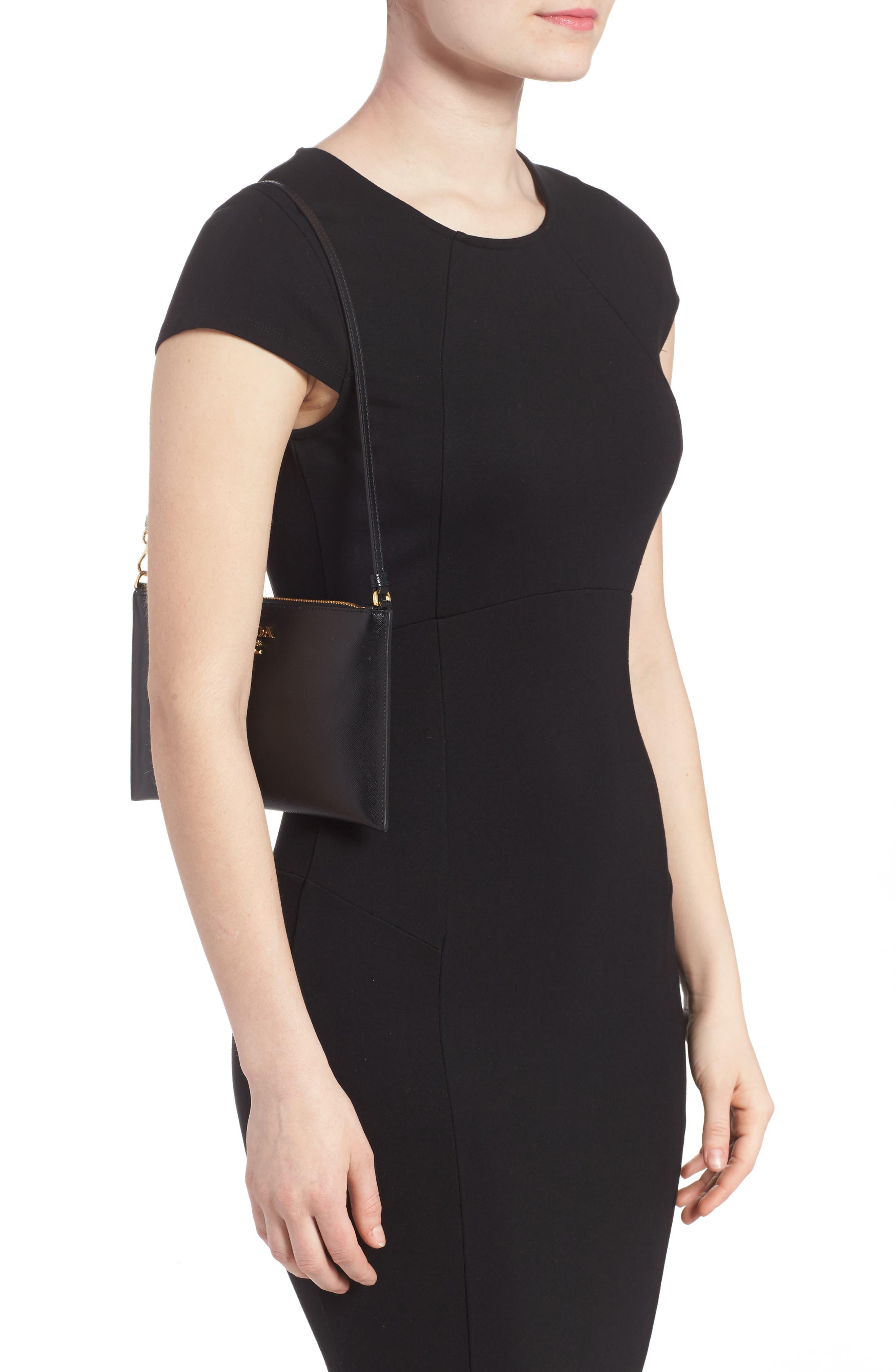 Small Saffiano Leather Shoulder Bag,                             Alternate thumbnail 2, color,                             F0002 NERO
