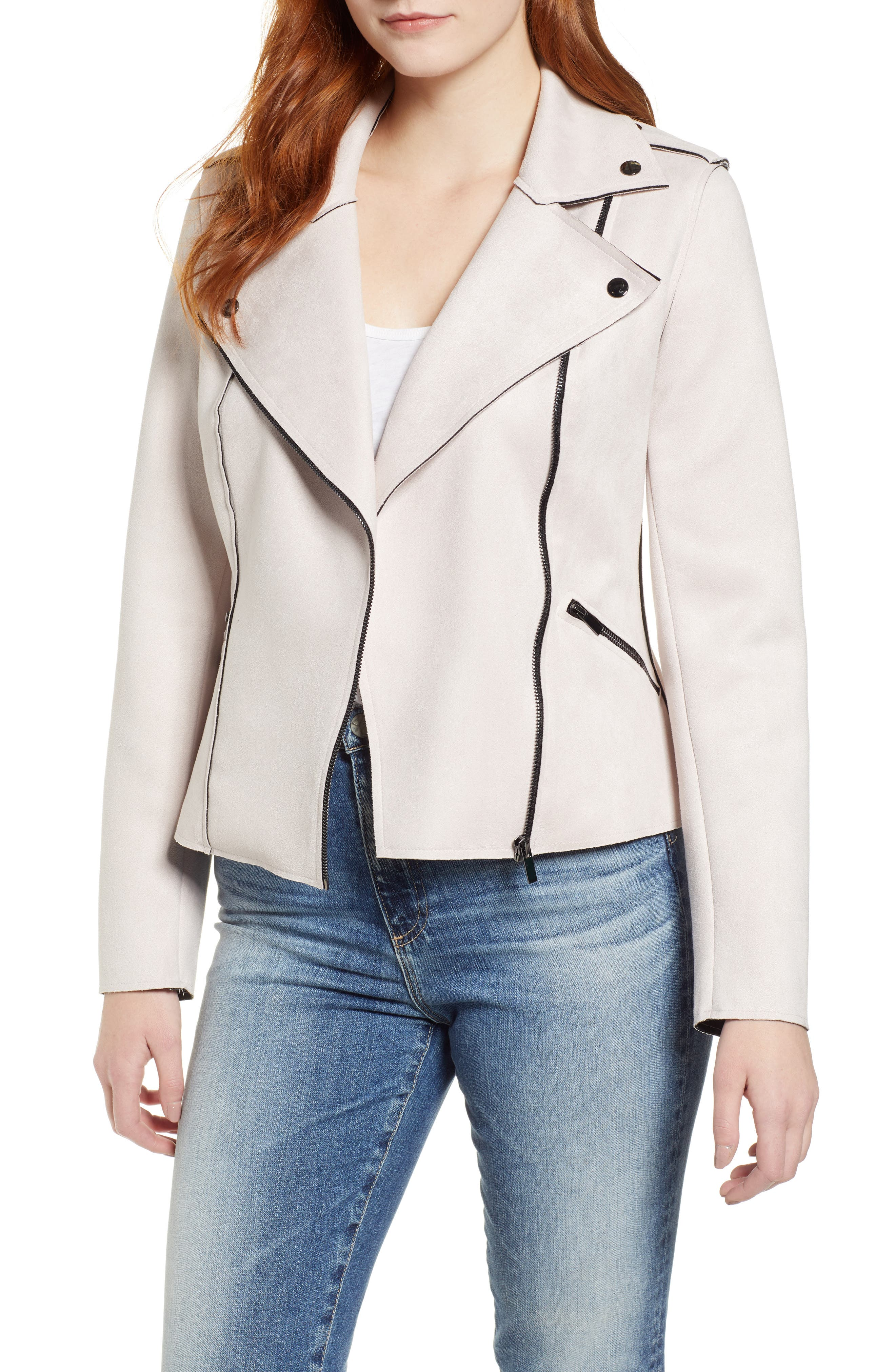 KUT FROM THE KLOTH Haddie Faux Suede Moto Jacket, Main, color, PALE BLUSH