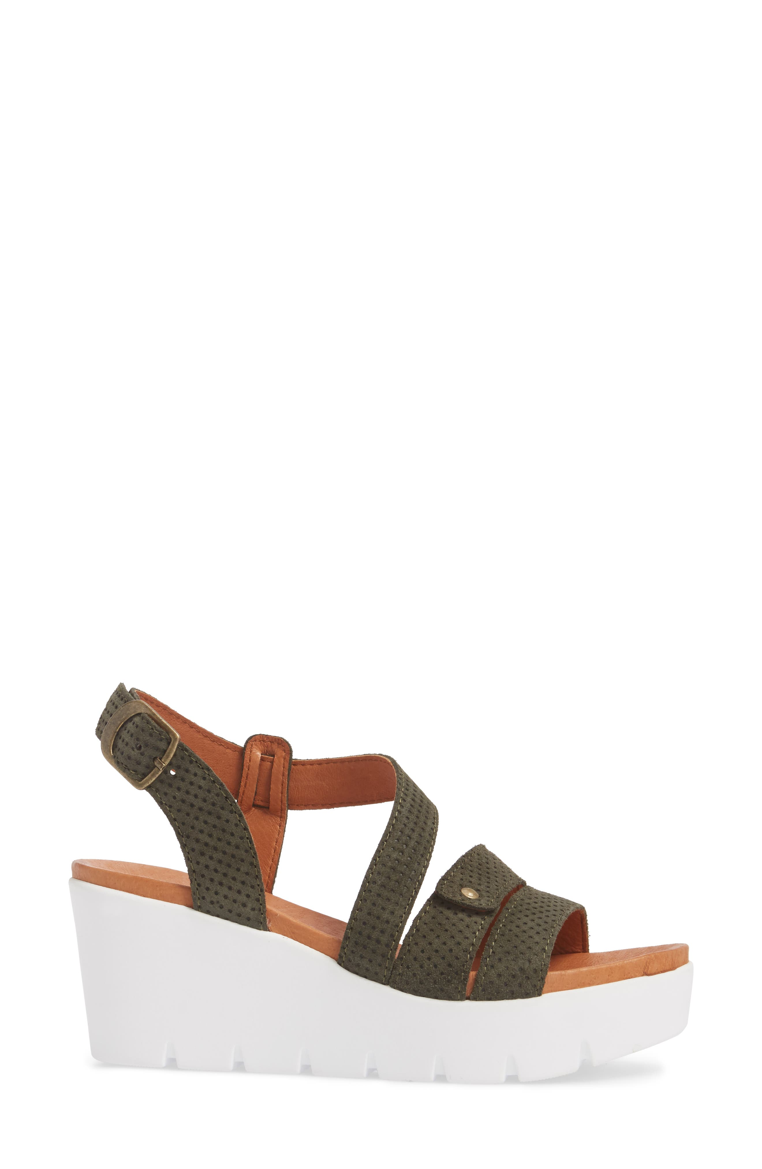 Sierra Platform Wedge Sandal,                             Alternate thumbnail 3, color,                             MINT LEATHER
