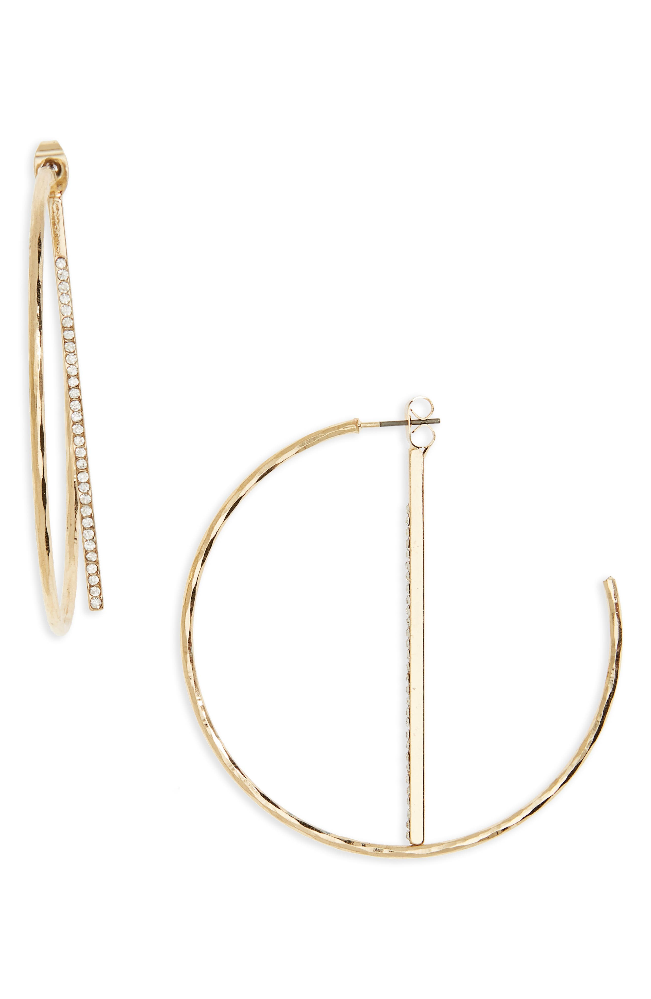 Crystal Half Hoop Earrings,                             Main thumbnail 1, color,                             710
