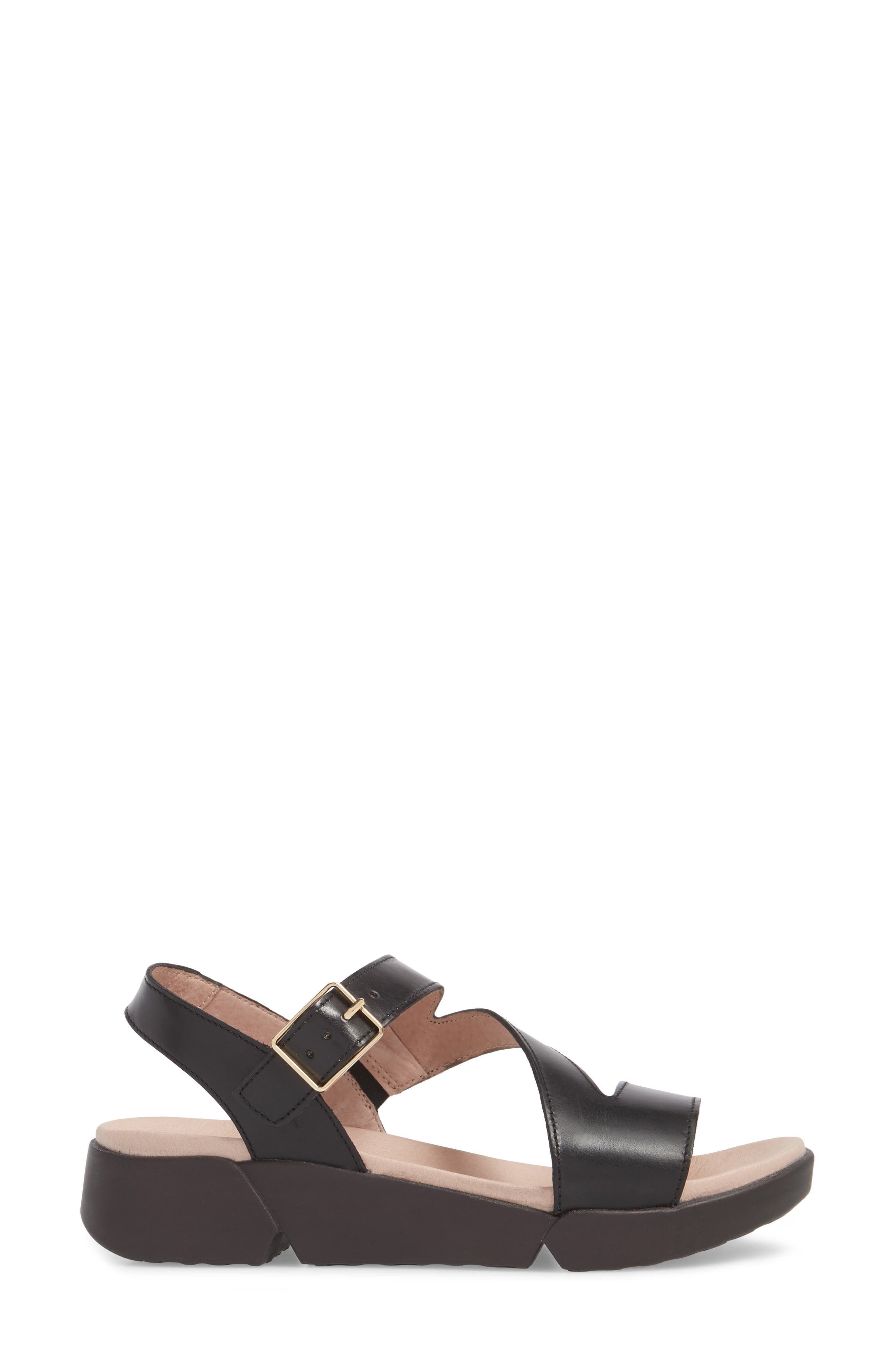 Platform Wedge Sandal,                             Alternate thumbnail 3, color,                             BLACK LEATHER