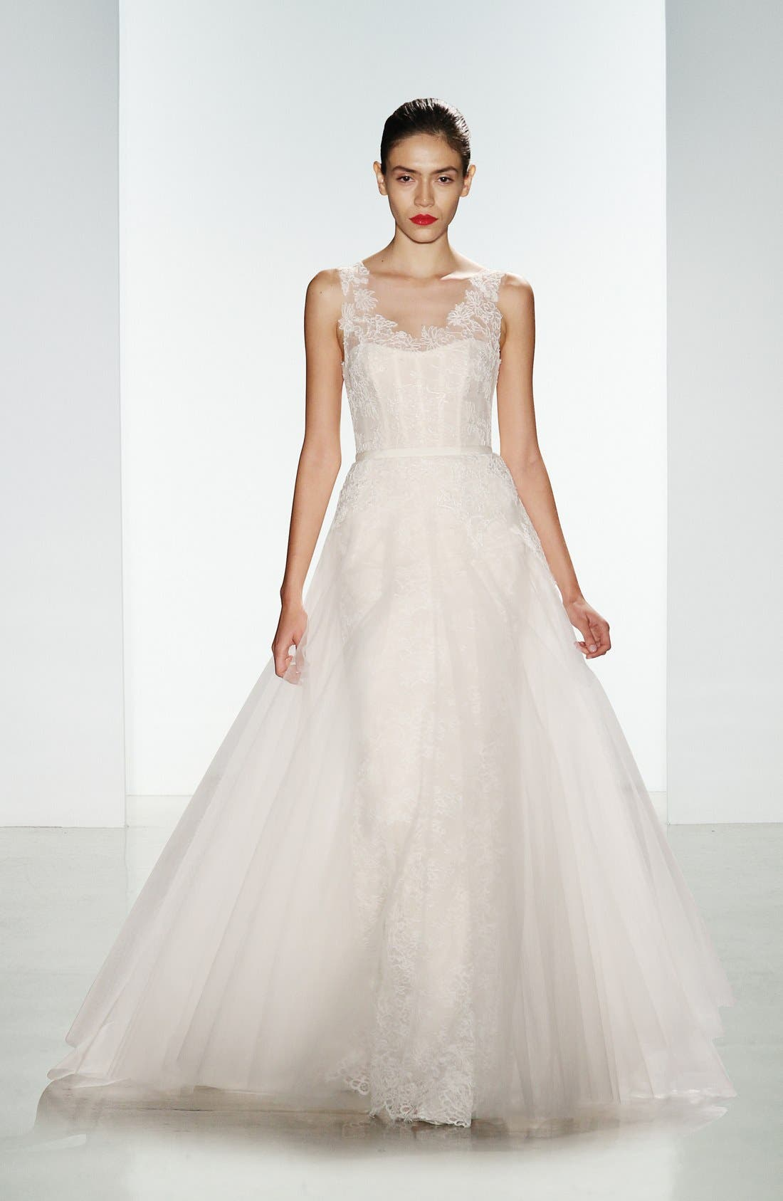 Rae Corded Lace Gown with Tulle Overskirt,                             Main thumbnail 1, color,