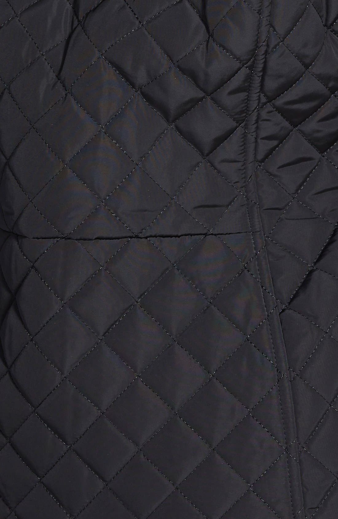 Quilted Coat with Detachable Faux Fur Trim Hood,                             Alternate thumbnail 3, color,                             001