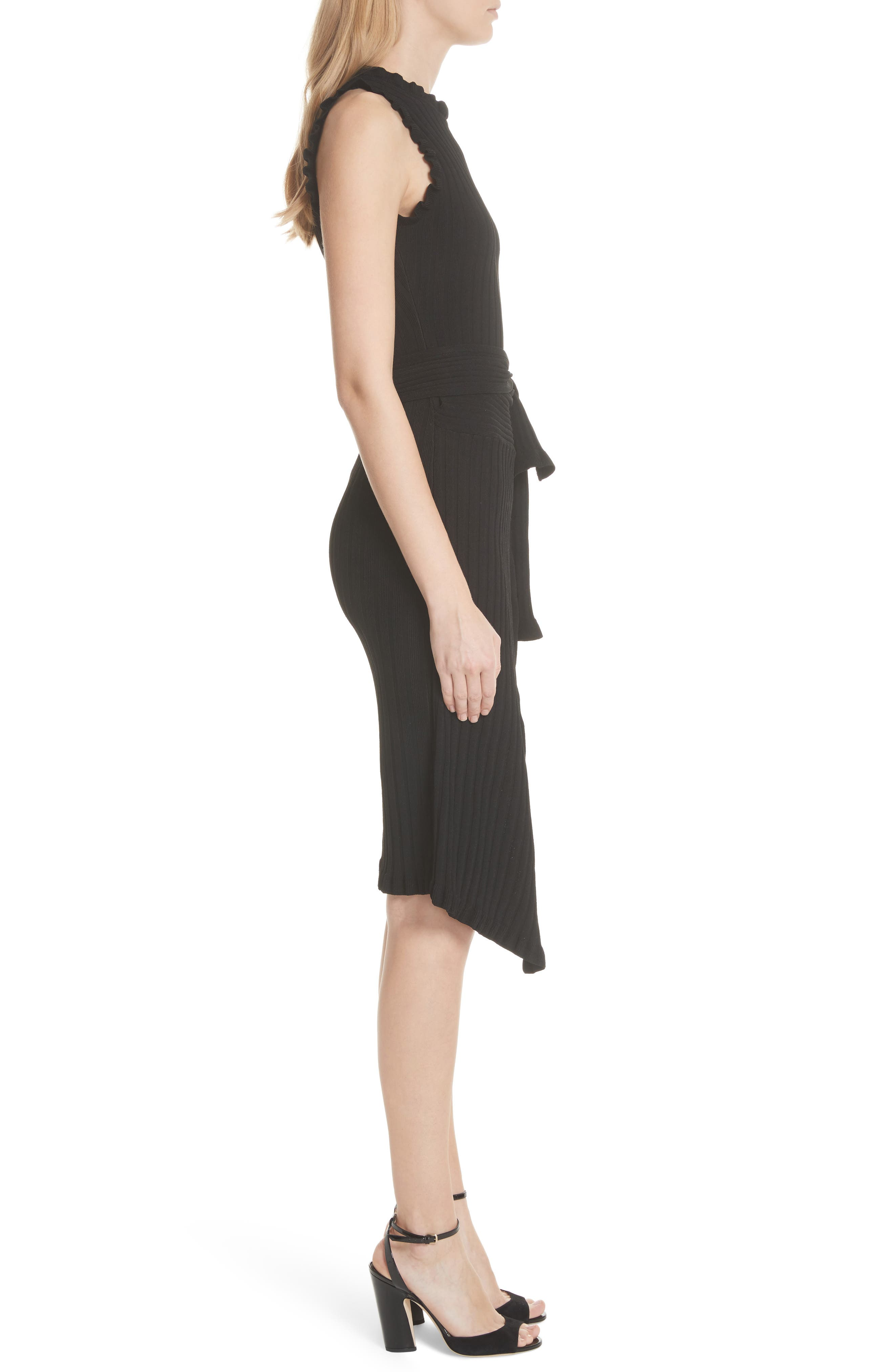 Ribbed Tie Waist Sweater Dress,                             Alternate thumbnail 3, color,                             001