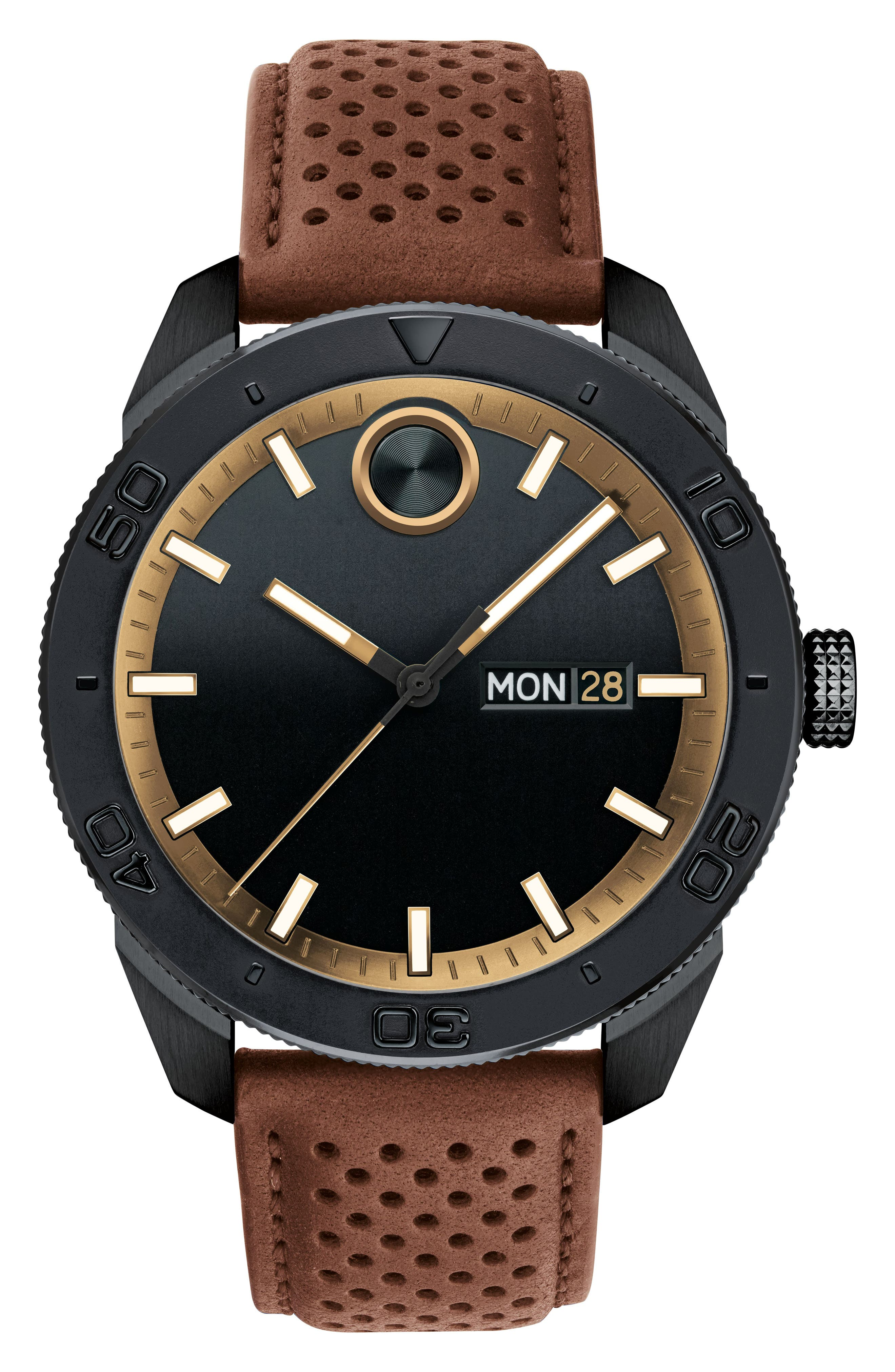 MOVADO,                             Bold Metals Sport Leather Strap Watch, 43mm,                             Main thumbnail 1, color,                             BROWN/ BLACK/ GOLD