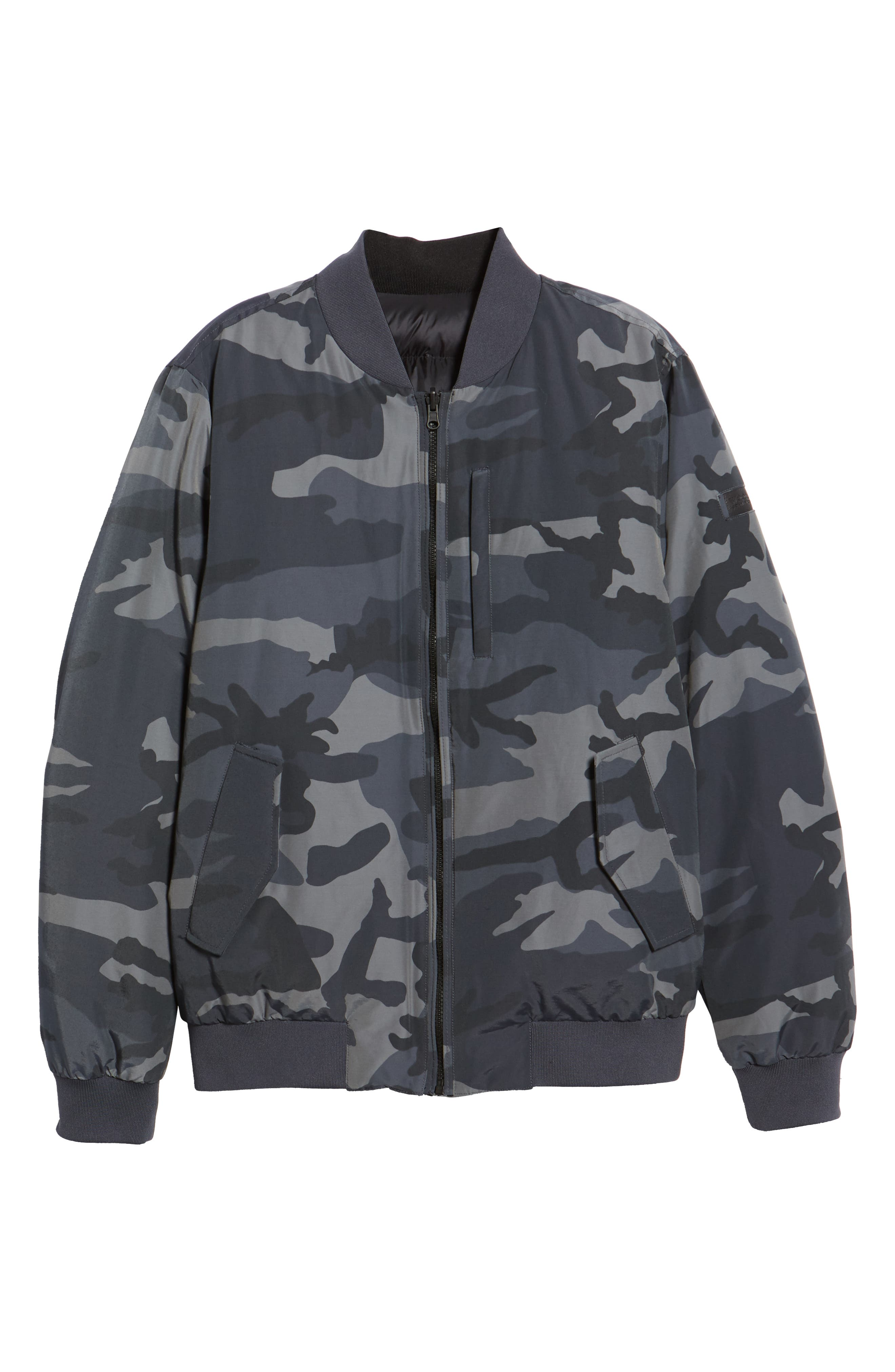 Reversible Camo Down Bomber Jacket,                             Alternate thumbnail 6, color,                             GREY CAMOU