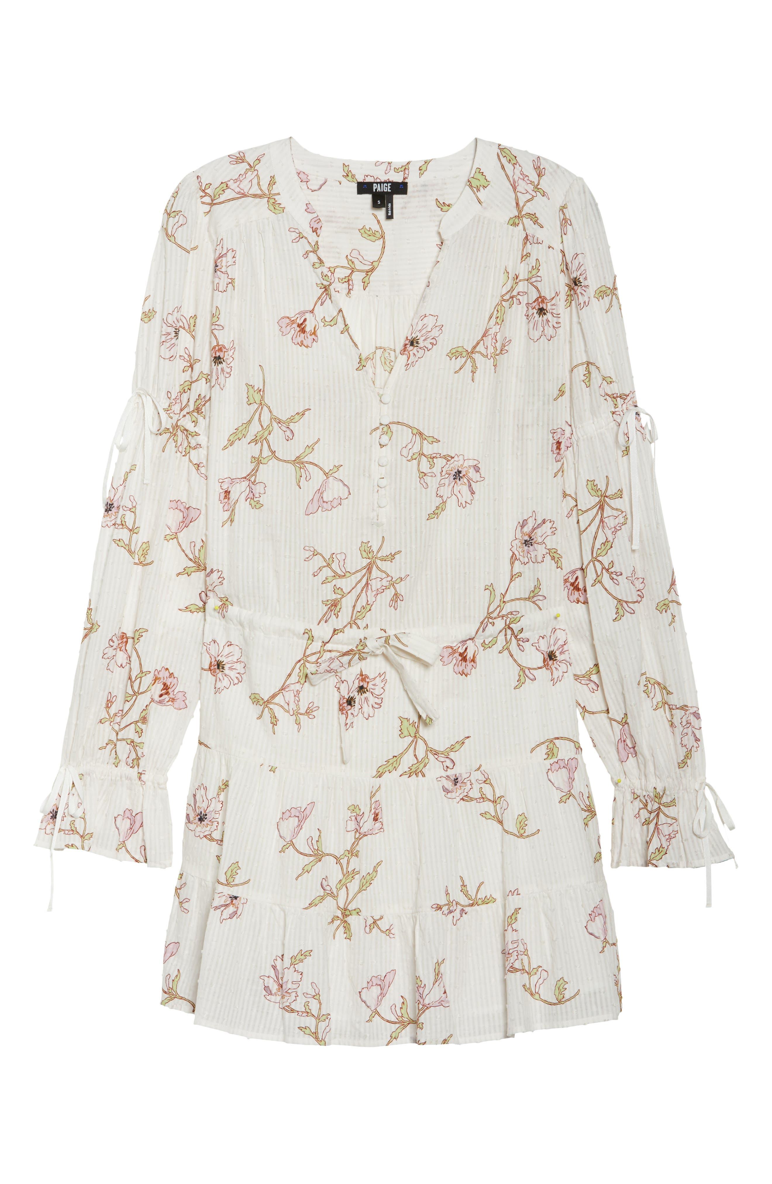 Yardley Floral Minidress,                             Alternate thumbnail 7, color,                             WHITE / MAUVE SHADOWS