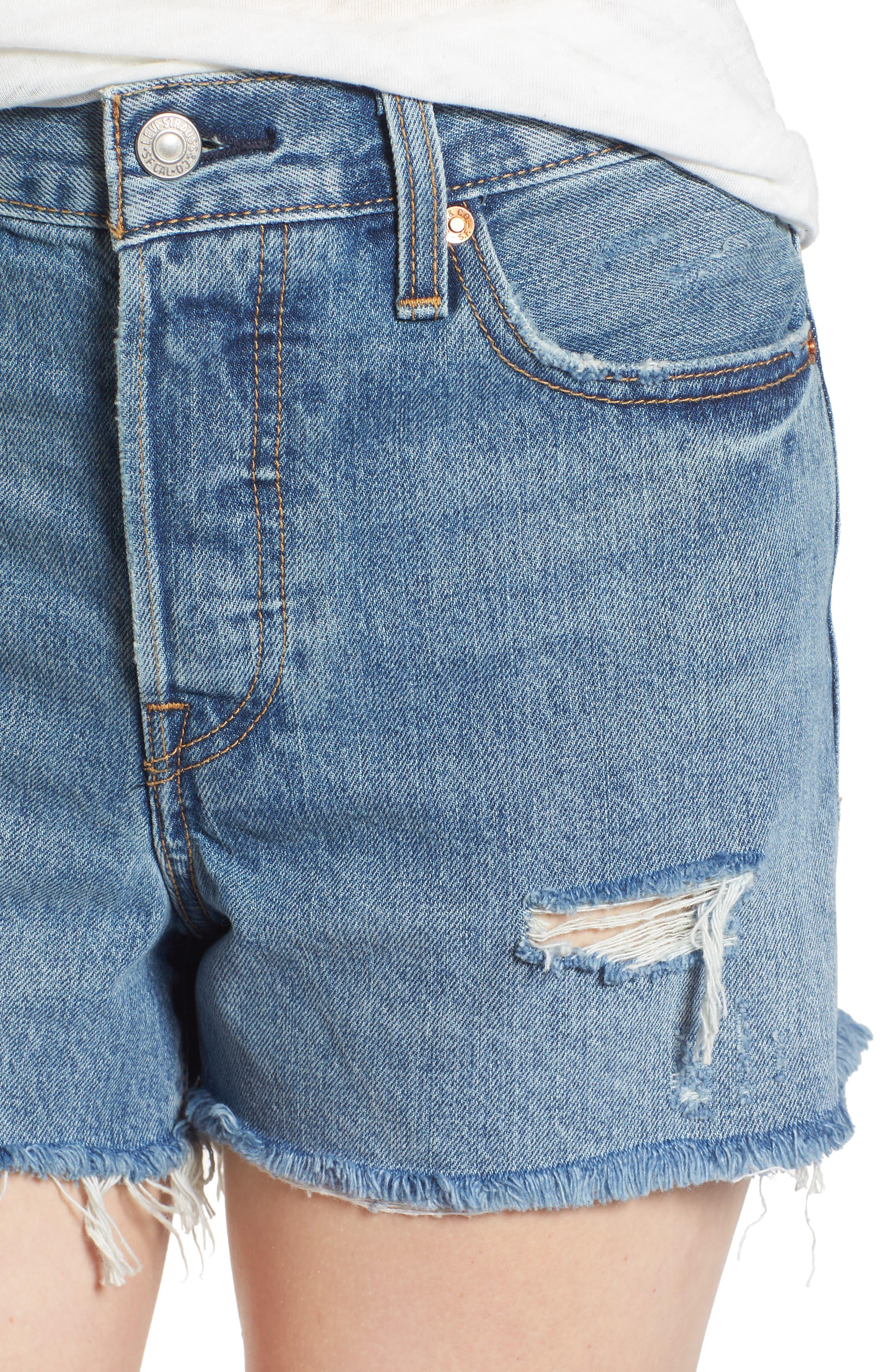 Wedgie High Waist Cutoff Denim Shorts,                             Alternate thumbnail 4, color,                             420