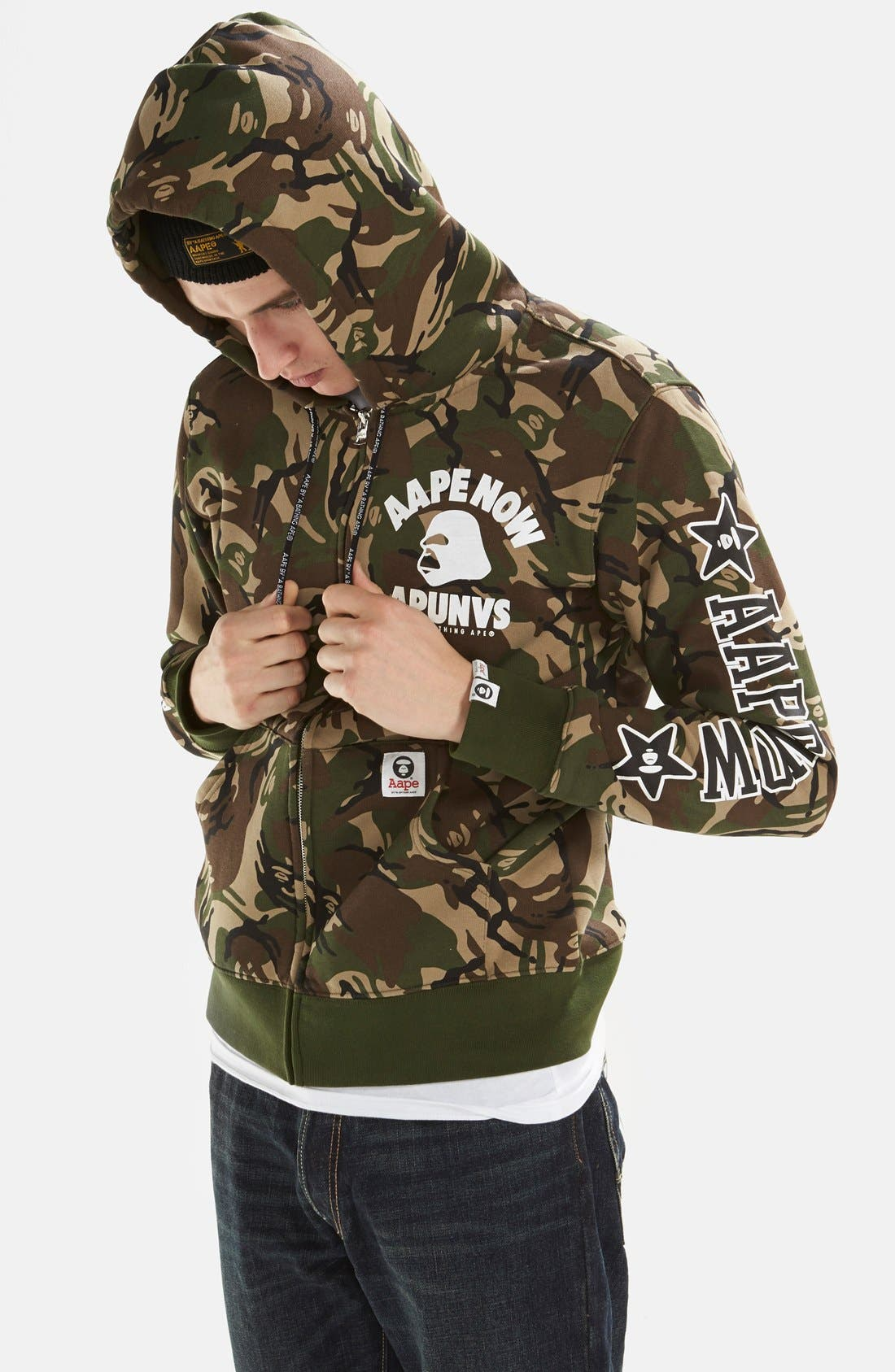 AAPE BY A BATHING APE<SUP>®</SUP>,                             Camo Full Zip Hoodie,                             Alternate thumbnail 5, color,                             340