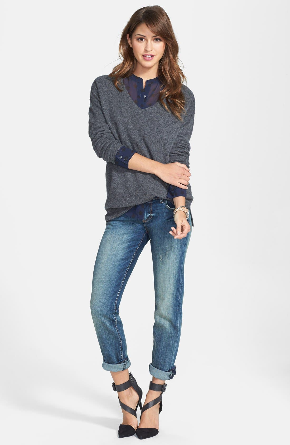 High/Low Cashmere V-Neck Tunic,                             Alternate thumbnail 4, color,                             021