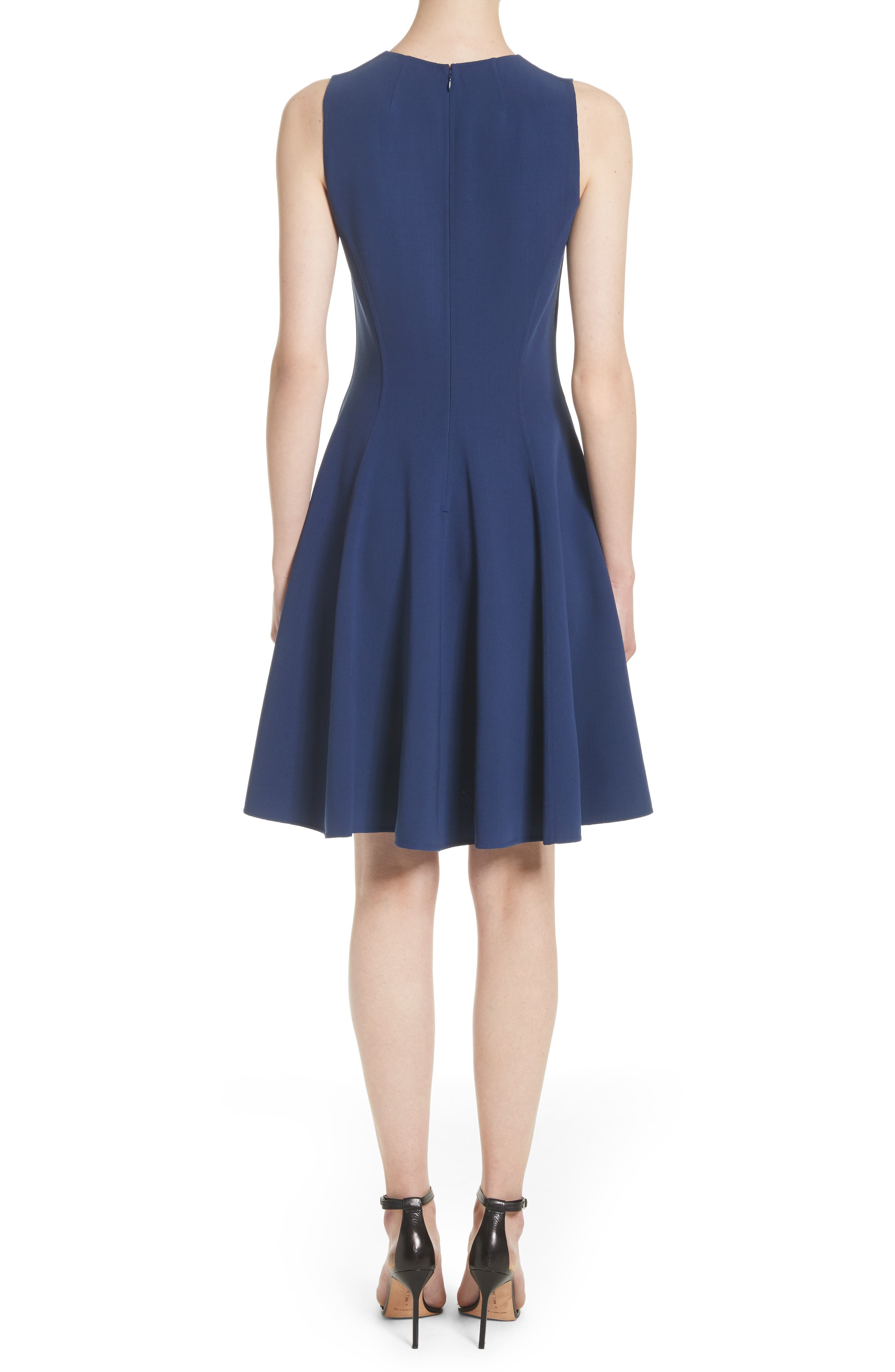 Stretch Wool Bell Dress,                             Alternate thumbnail 2, color,