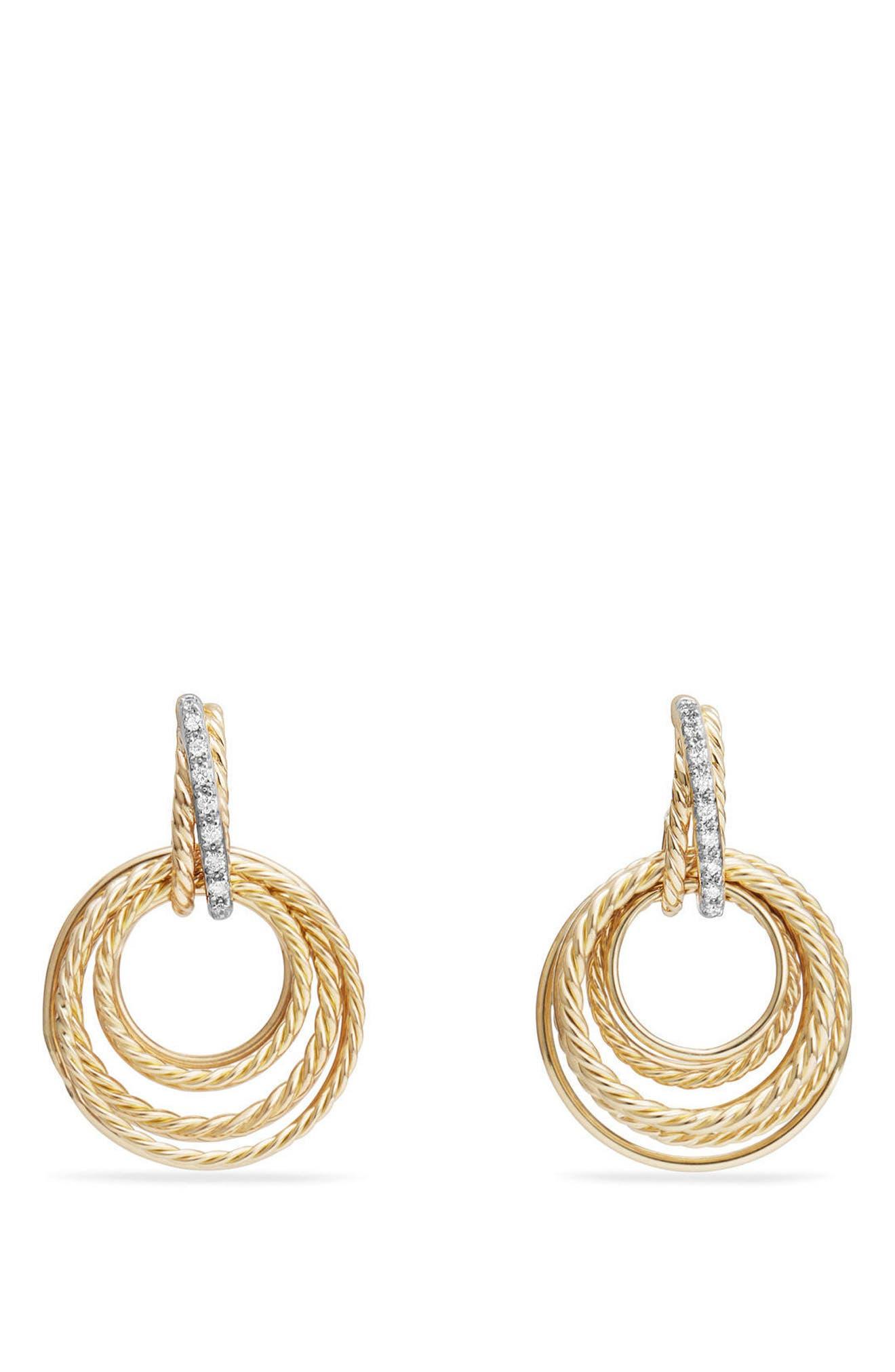 Crossover Diamond Drop Earrings,                         Main,                         color, YELLOW GOLD/ DIAMOND