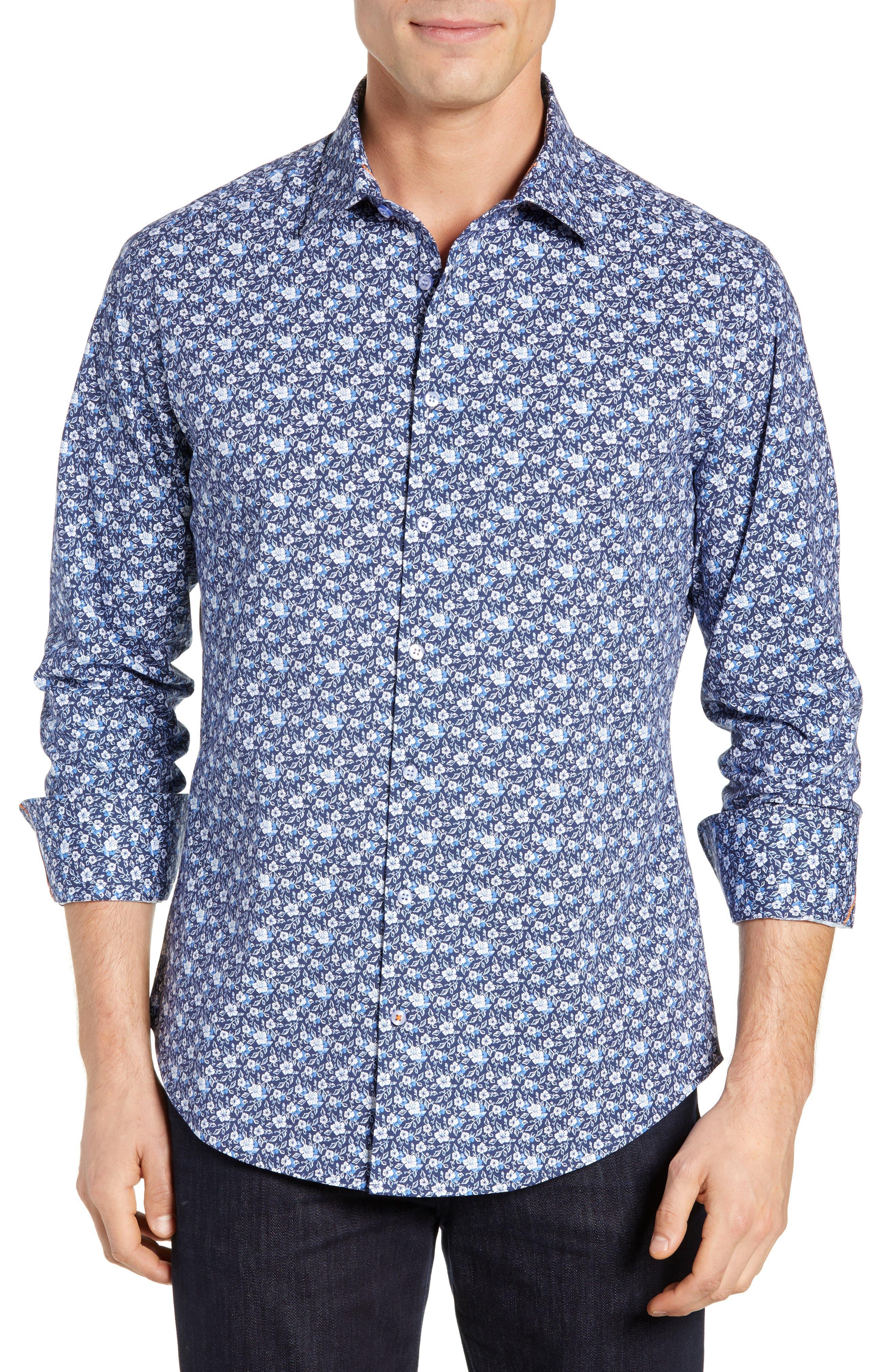 Regular Fit Floral Print Knit Sport Shirt, Main, color, NAVY