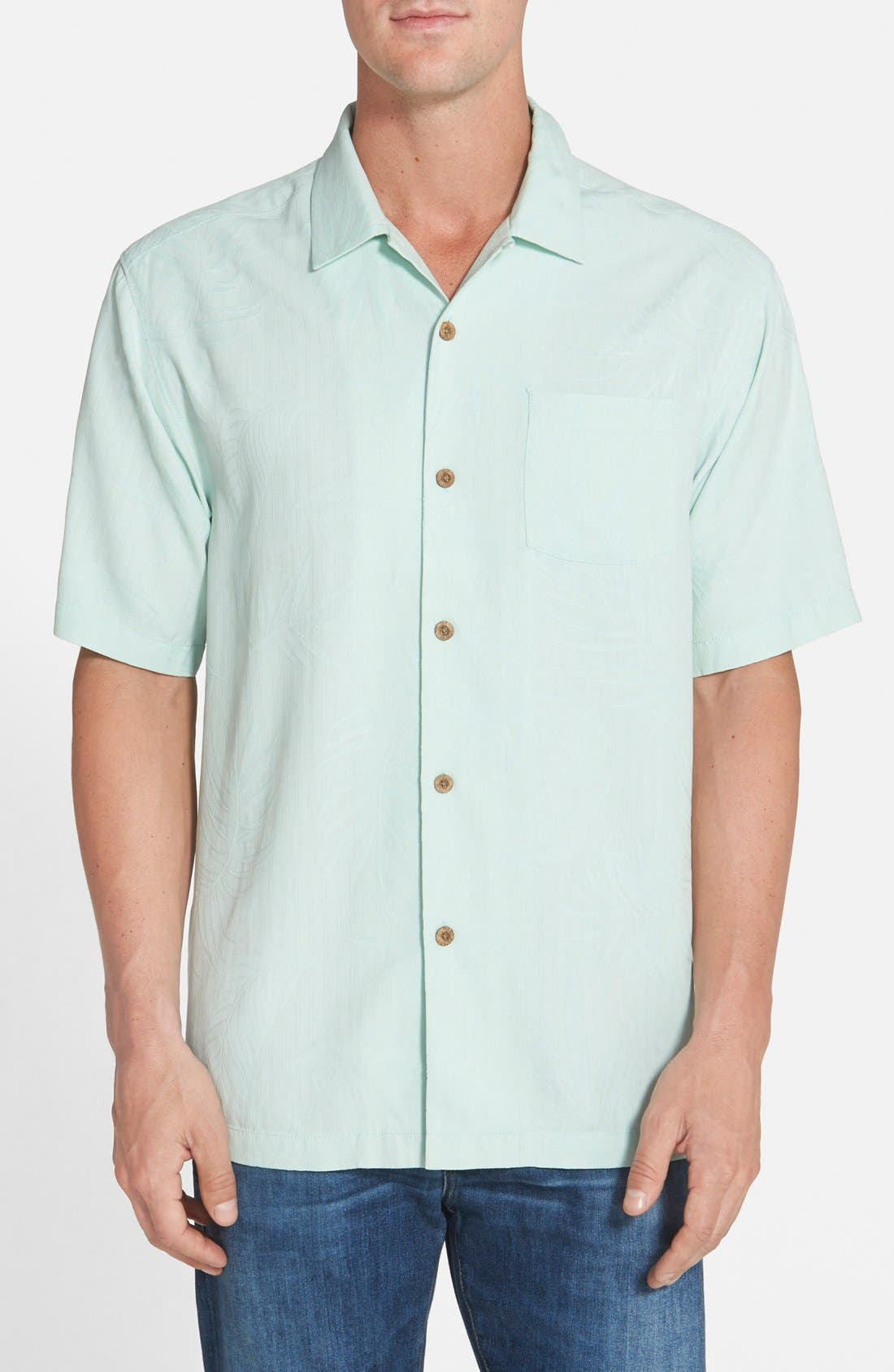 'Tiki Palms' Original Fit Jacquard Silk Camp Shirt,                             Main thumbnail 5, color,
