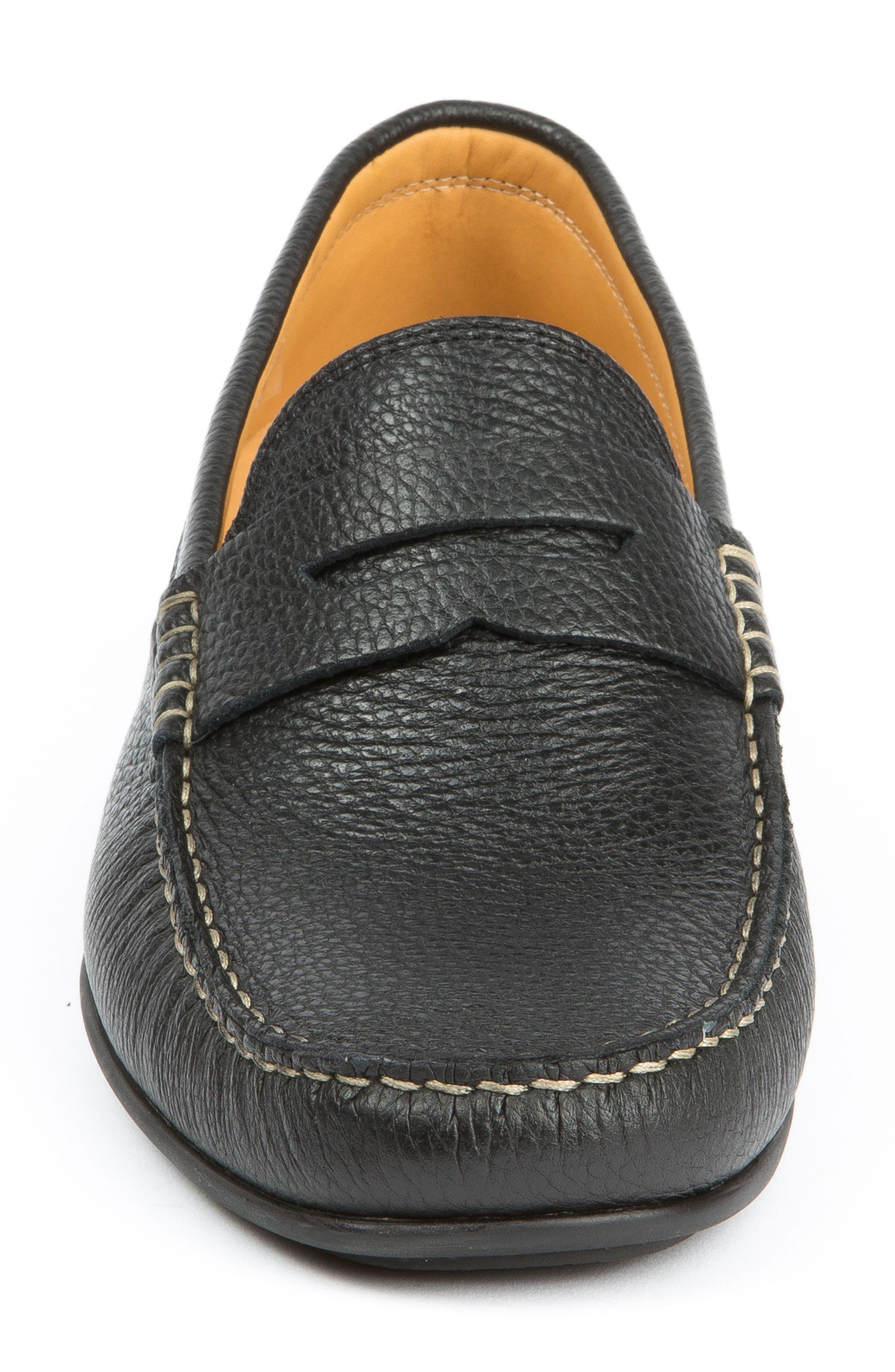 Hudsons Driving Shoe,                             Alternate thumbnail 4, color,                             BLACK GRAIN