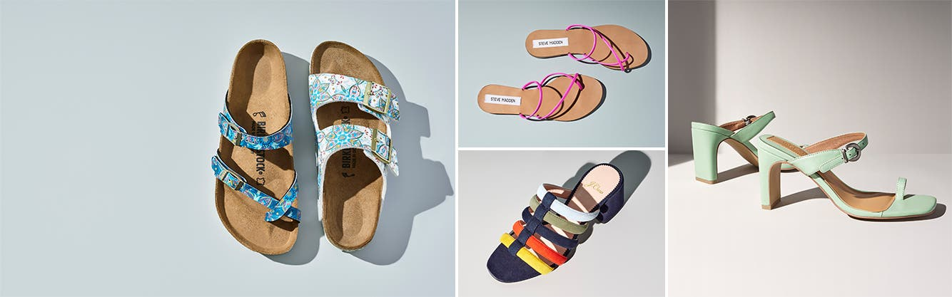Colorful summer sandals for women.