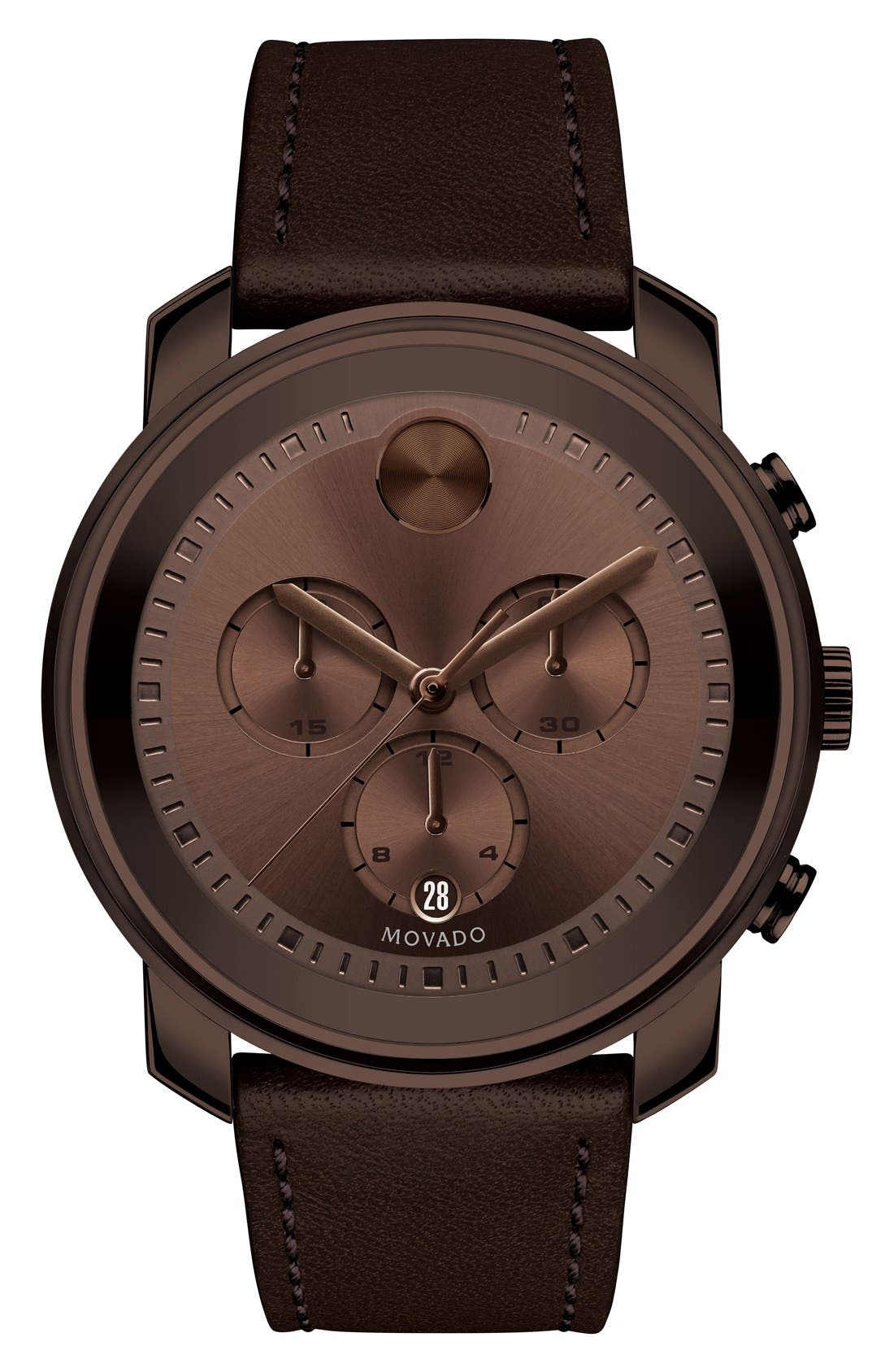 'Bold' Chronograph Leather Strap Watch, 44mm,                         Main,                         color, BROWN