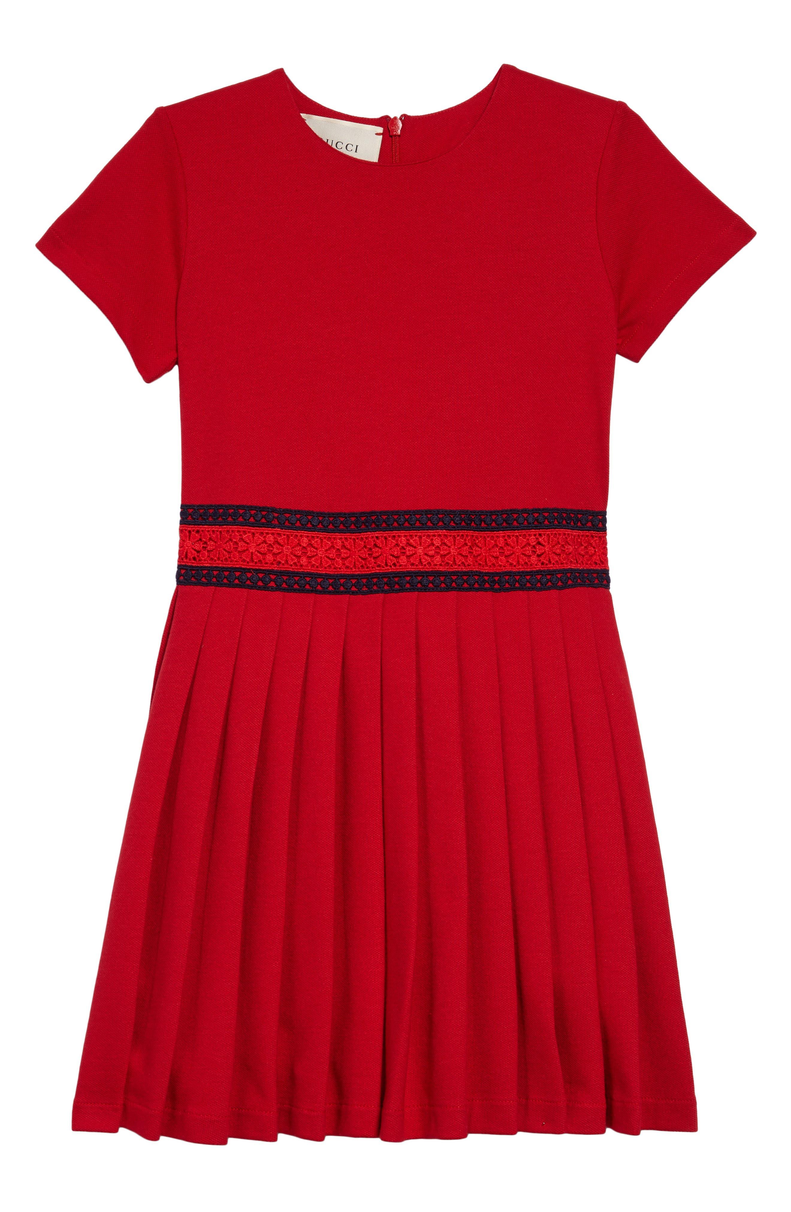 Piqué Cotton Pleat Dress,                         Main,                         color, CERESE/ NERO