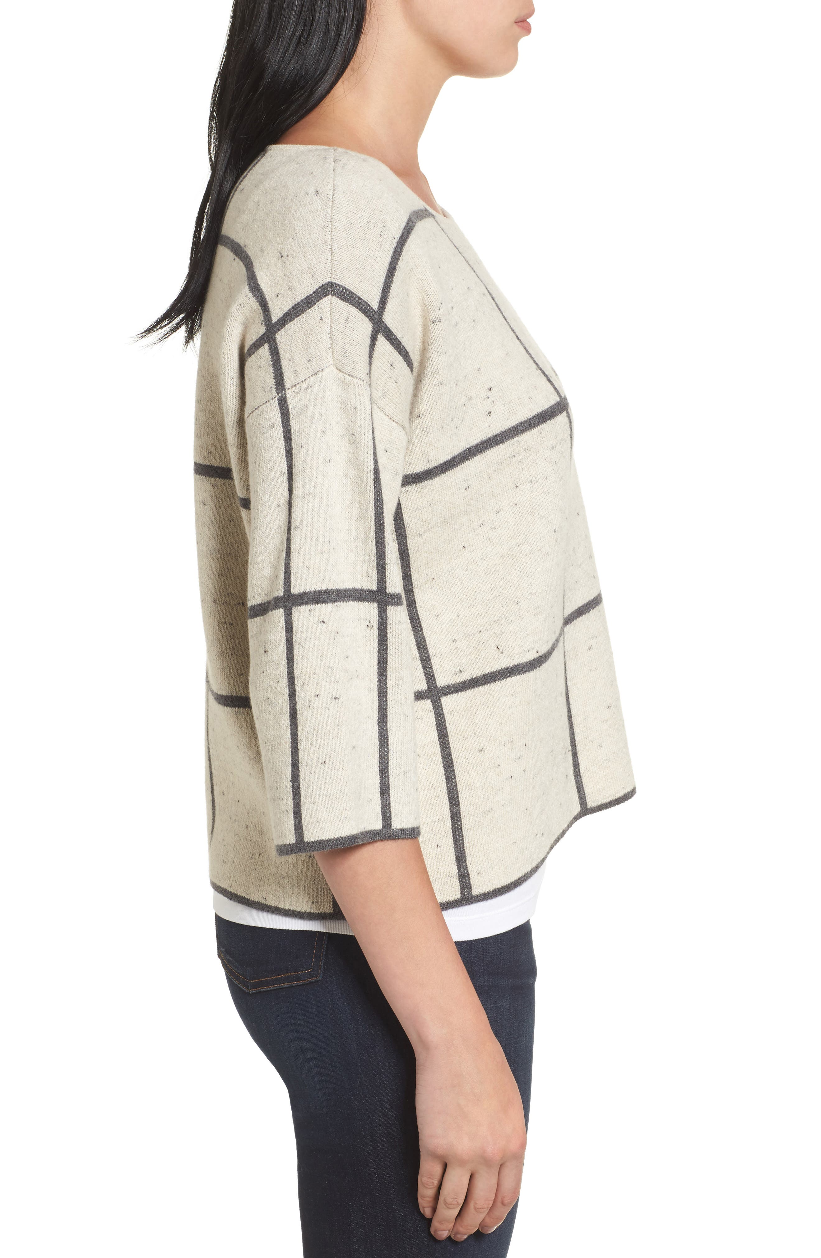 Windowpane Check Boxy Sweater,                             Alternate thumbnail 3, color,