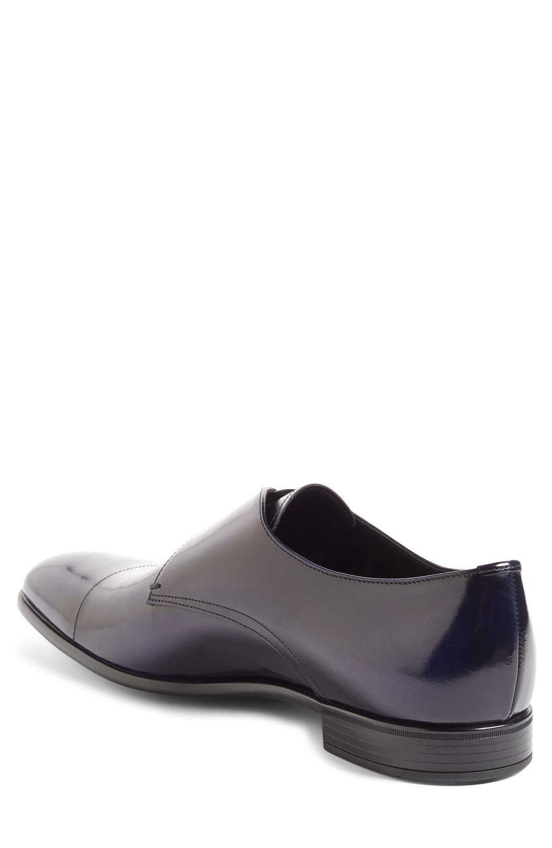 PRADA,                             Monk Strap Shoe,                             Alternate thumbnail 4, color,                             BLUE LEATHER