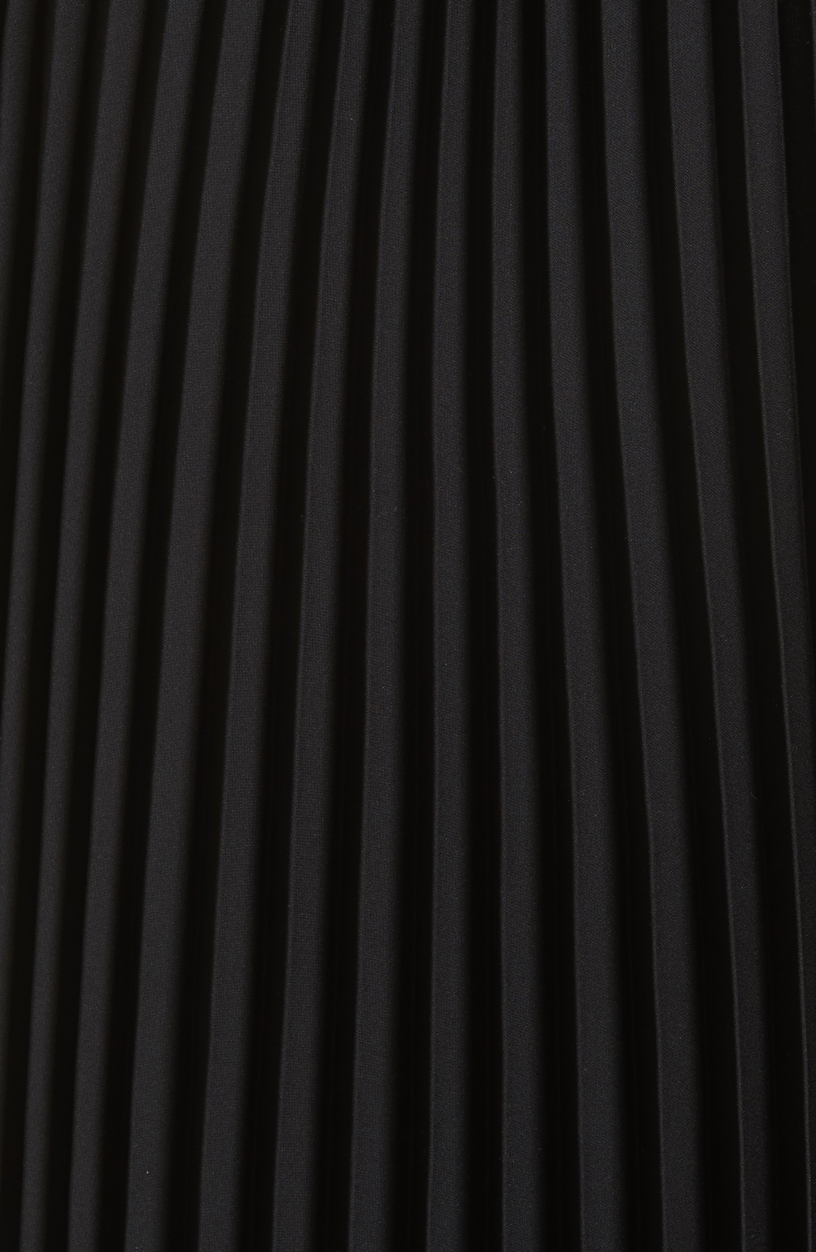 Irene Asymmetrical Pleated Silk Maxi Dress,                             Alternate thumbnail 5, color,                             001