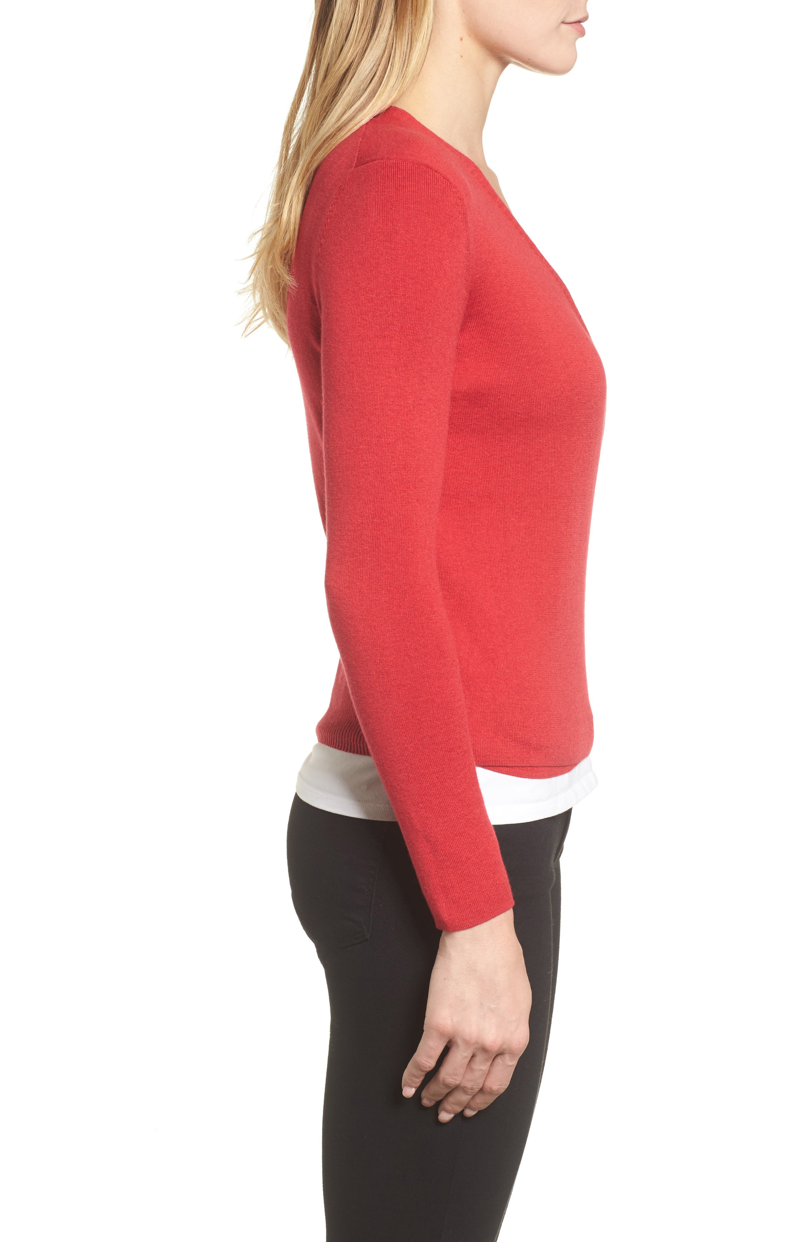 4-Way Convertible Lightweight Cardigan,                             Alternate thumbnail 4, color,                             TRUE RED