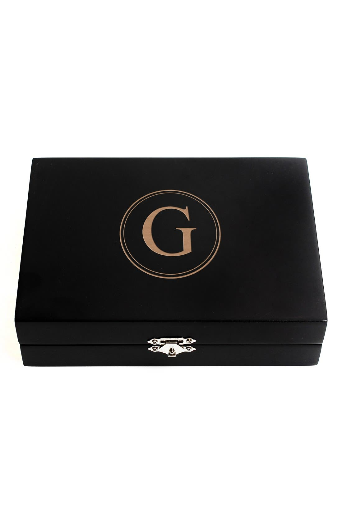 Monogram Wooden Jewelry Box,                             Main thumbnail 9, color,